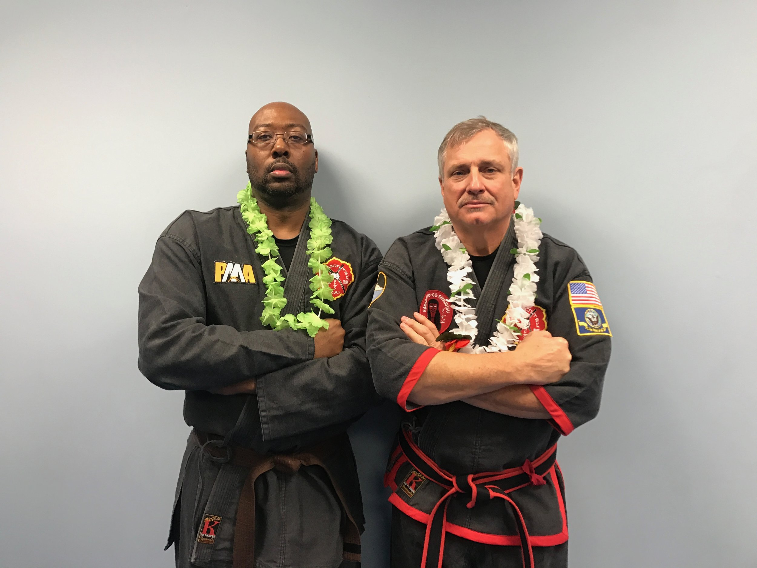 Monty alongside FILKENJUTSU founder, SIJo Bruce Corrigan, at one of the Black Belt Test Luau's!