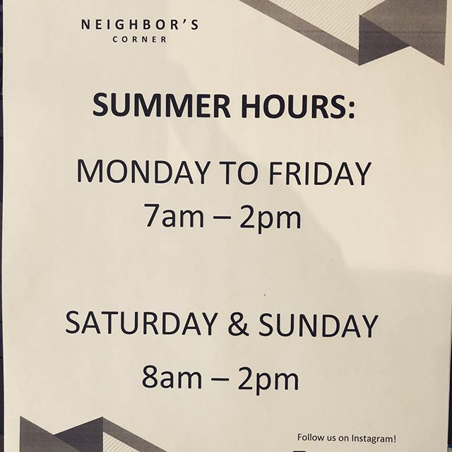 Happy Summer! Tomorrow June 13 we are gonna start new summer hours! 7-2 on weekdays and 8-2 on weekends. Make sure to plan accordingly so you don't miss out on your mid afternoon pick me up!