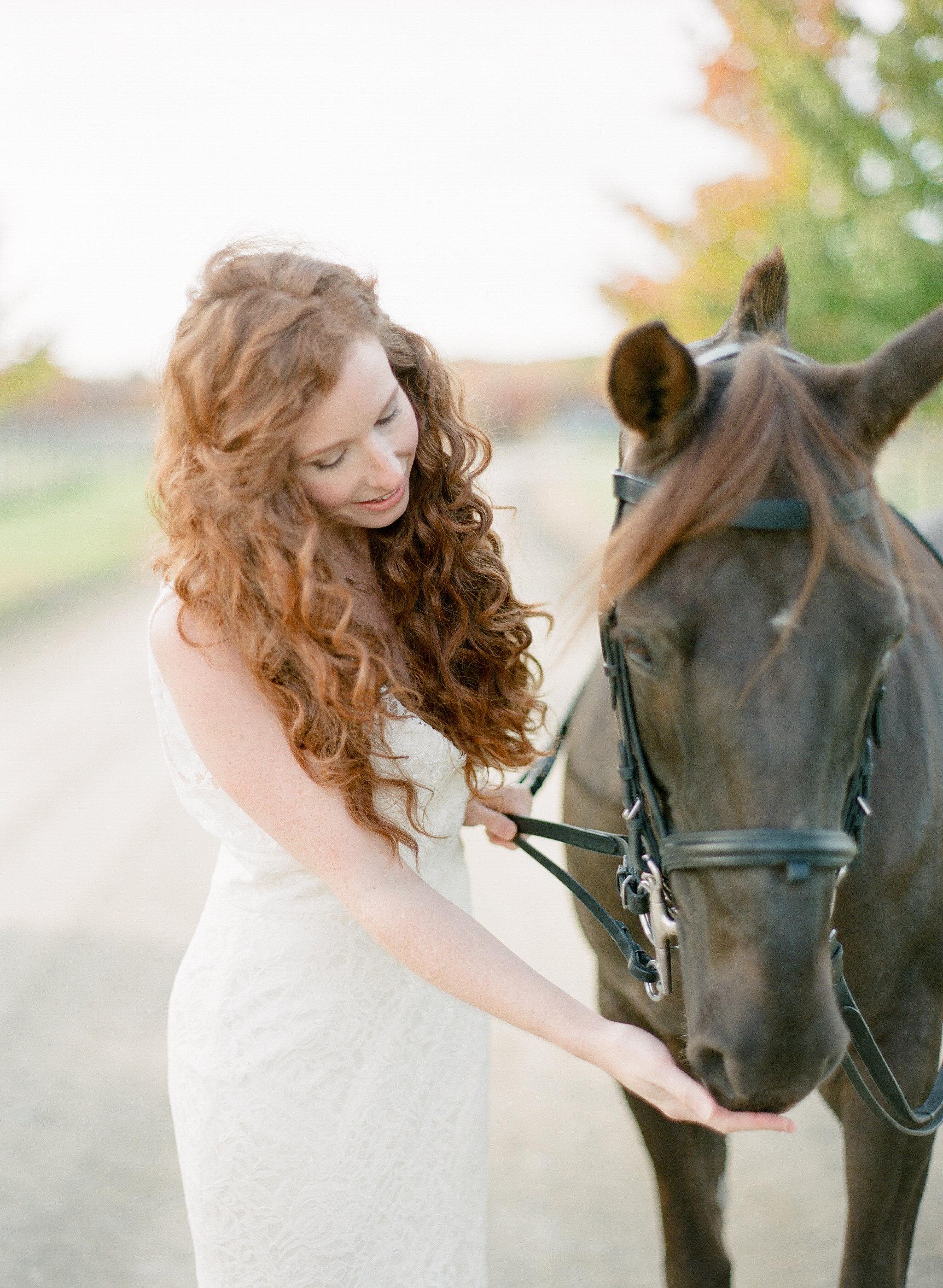 Bride and Horse at the BARN at Liberty Farms