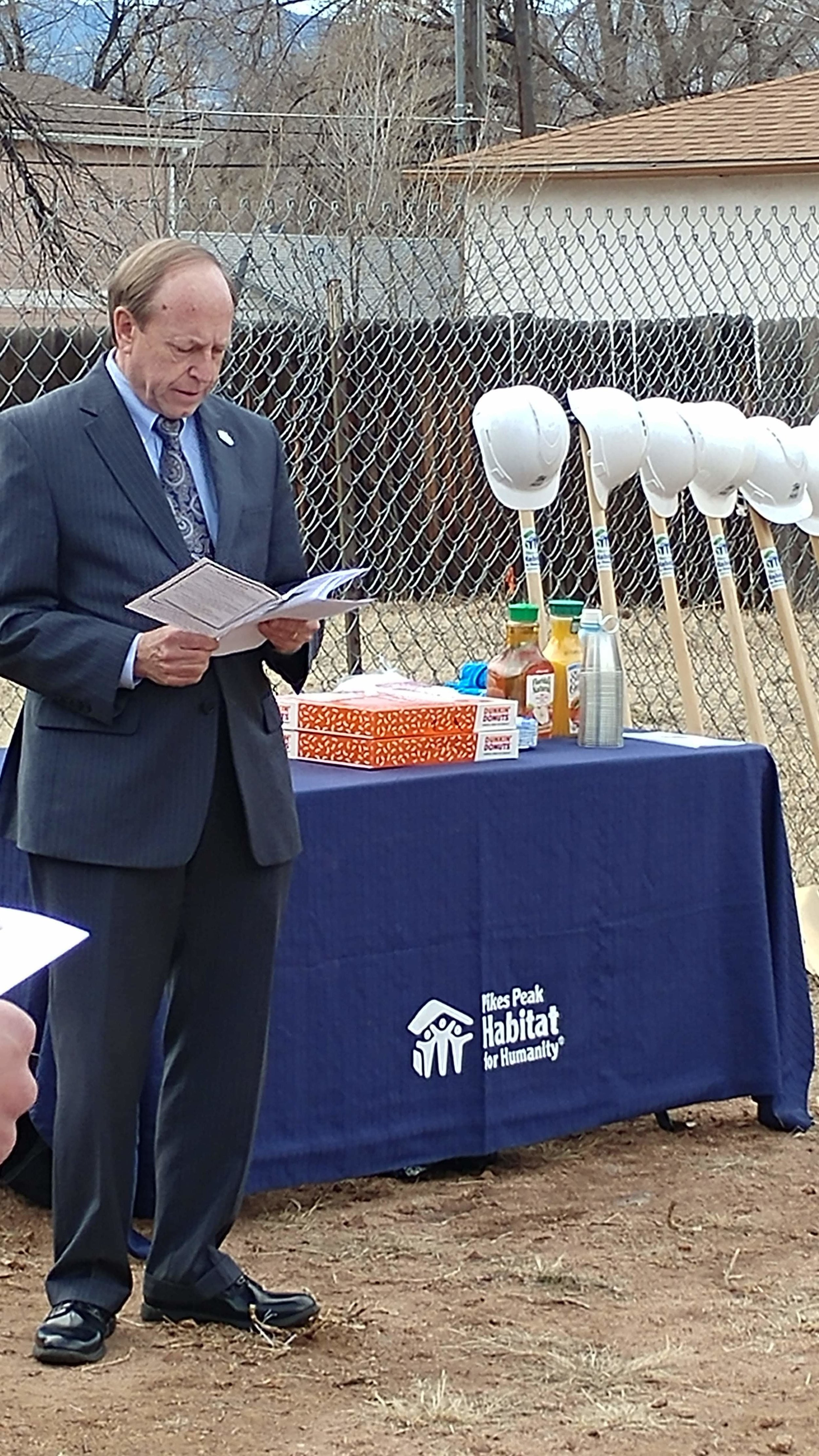Mayor John Suthers at the Pikes Peak Habitat for Humanity ground blessing ceremony