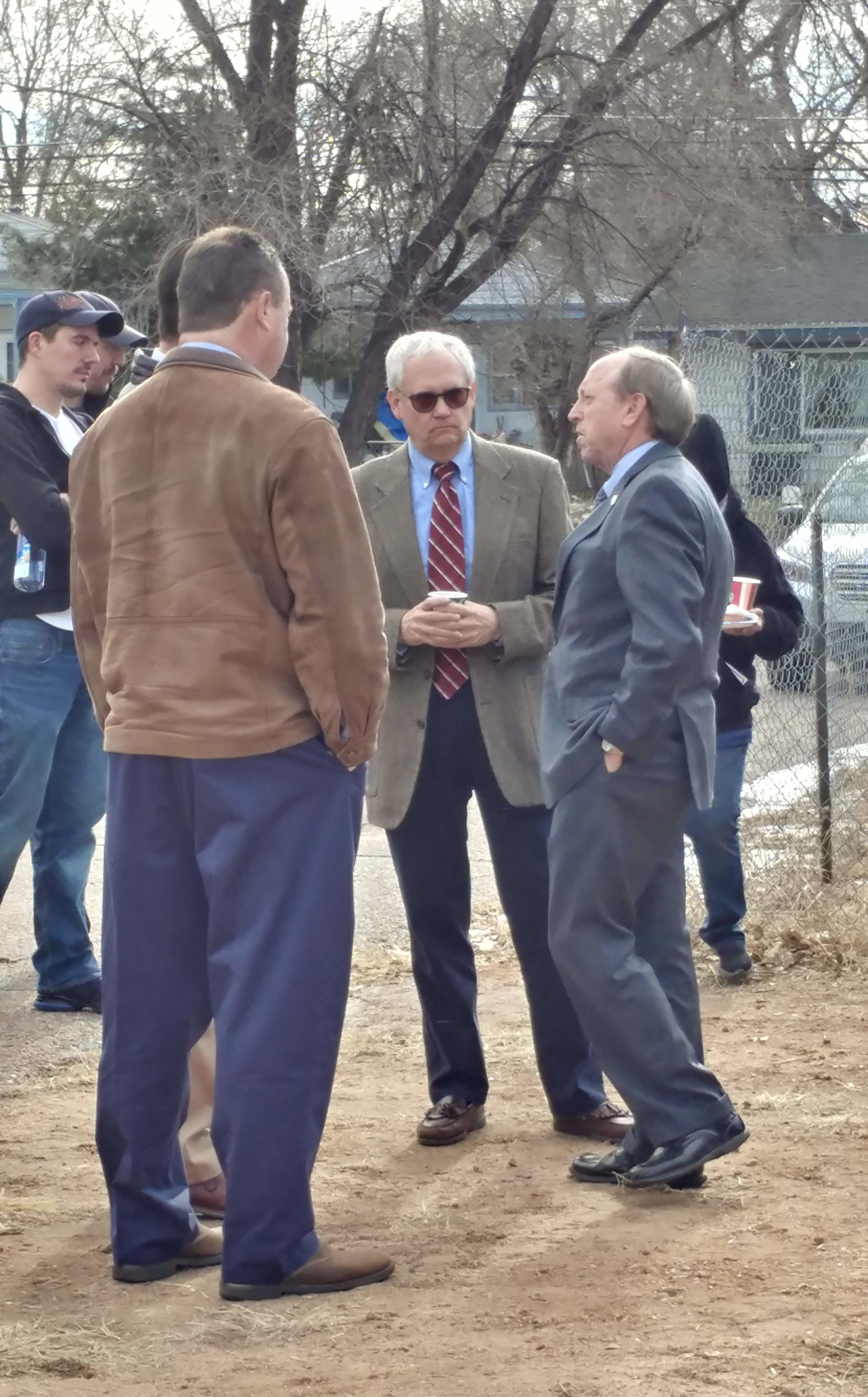 Larry Gilland and Mayor John Suthers at the Pikes Peak Habitat for Humanity ground blessing ceremony