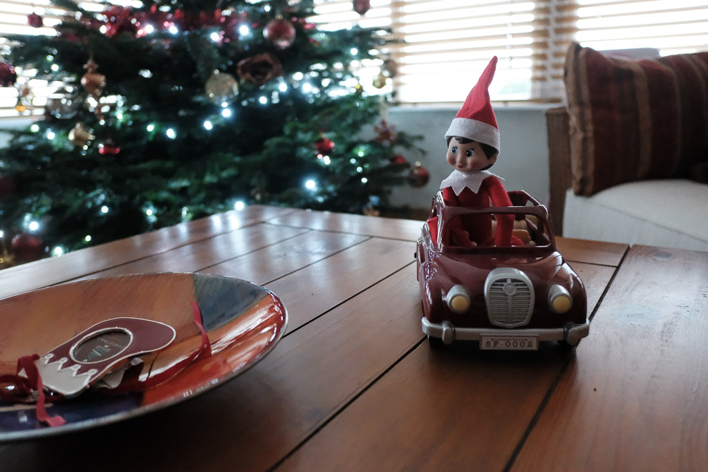 Driving the Sylvanian Families car round the coffee table....