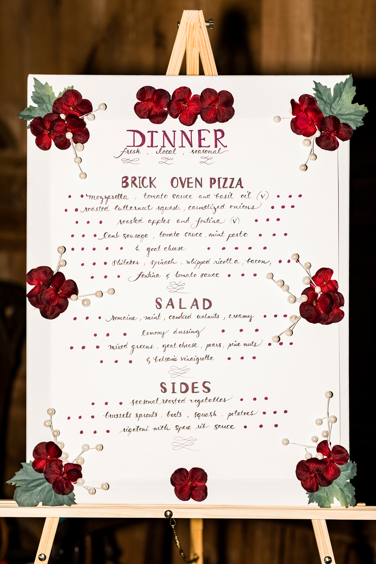 Lovely menu created for us by a family friend.