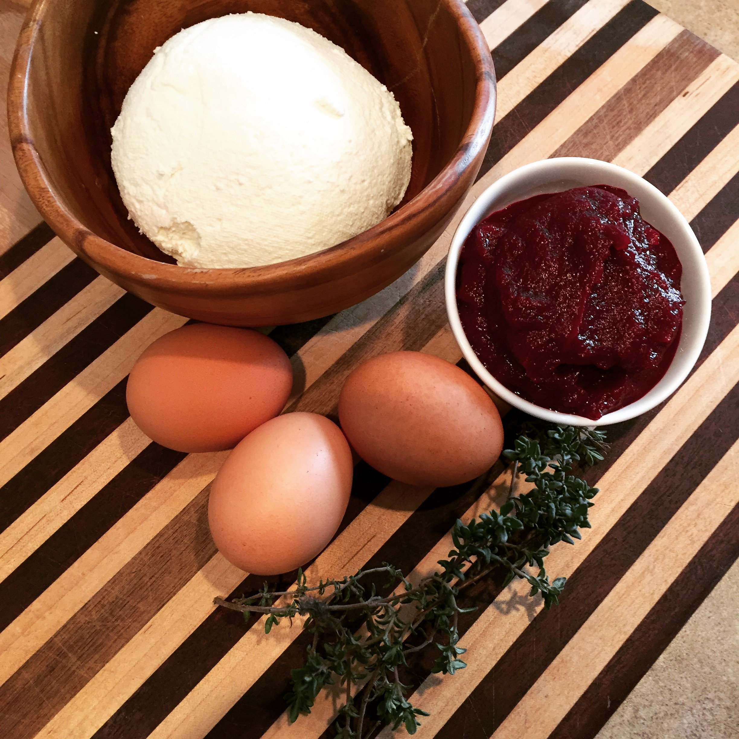 Freshly made ricotta, roasted puree of beets, fresh organic eggs and thyme from my garden.