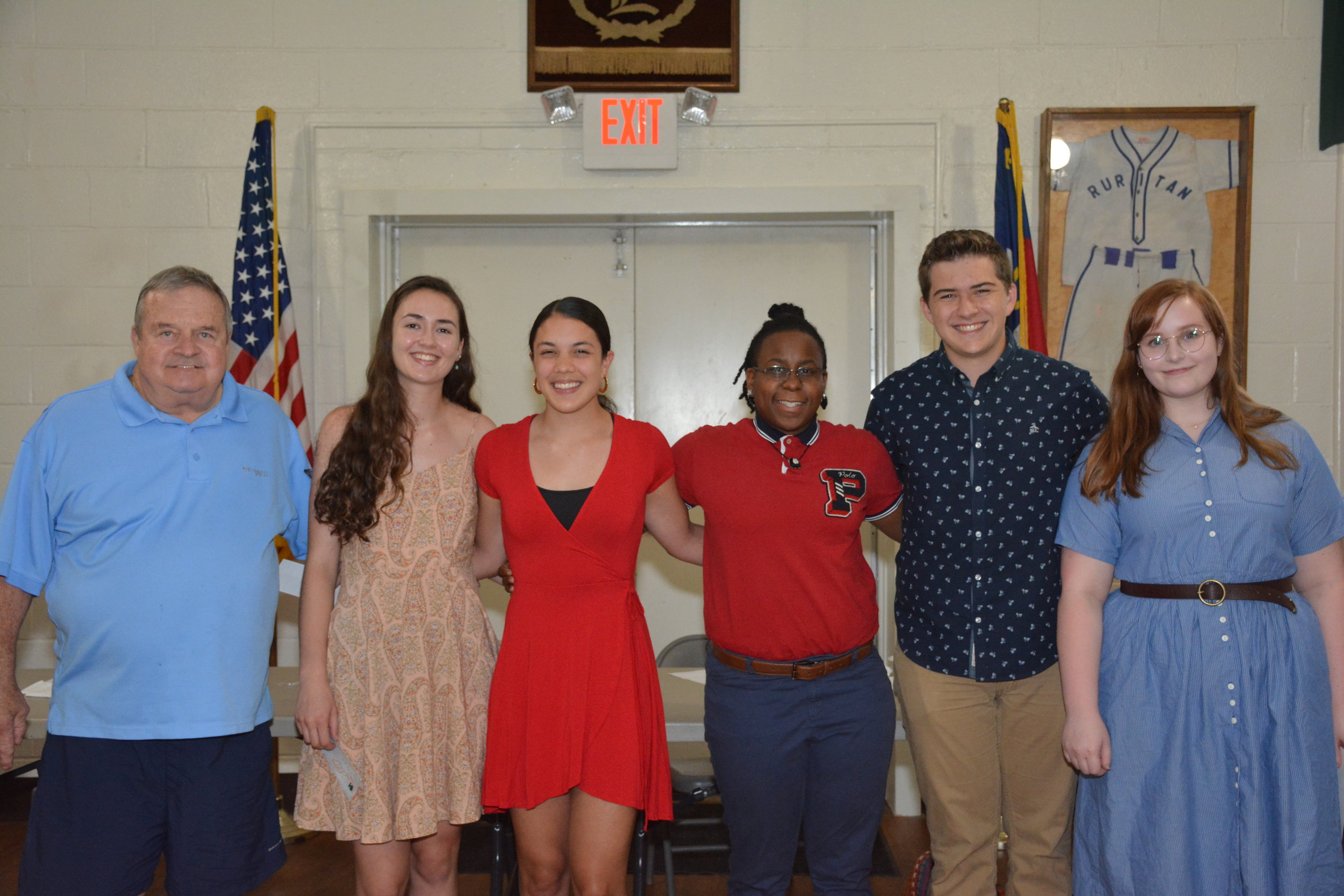 Left to Right: Chip Gill (Efland Club president); Mason Henry and Natalia Garay (Cedar Ridge HS); Namron Chapman (Orange HS); Jorden Madren and Tessa McGuire (Eno River Academy)