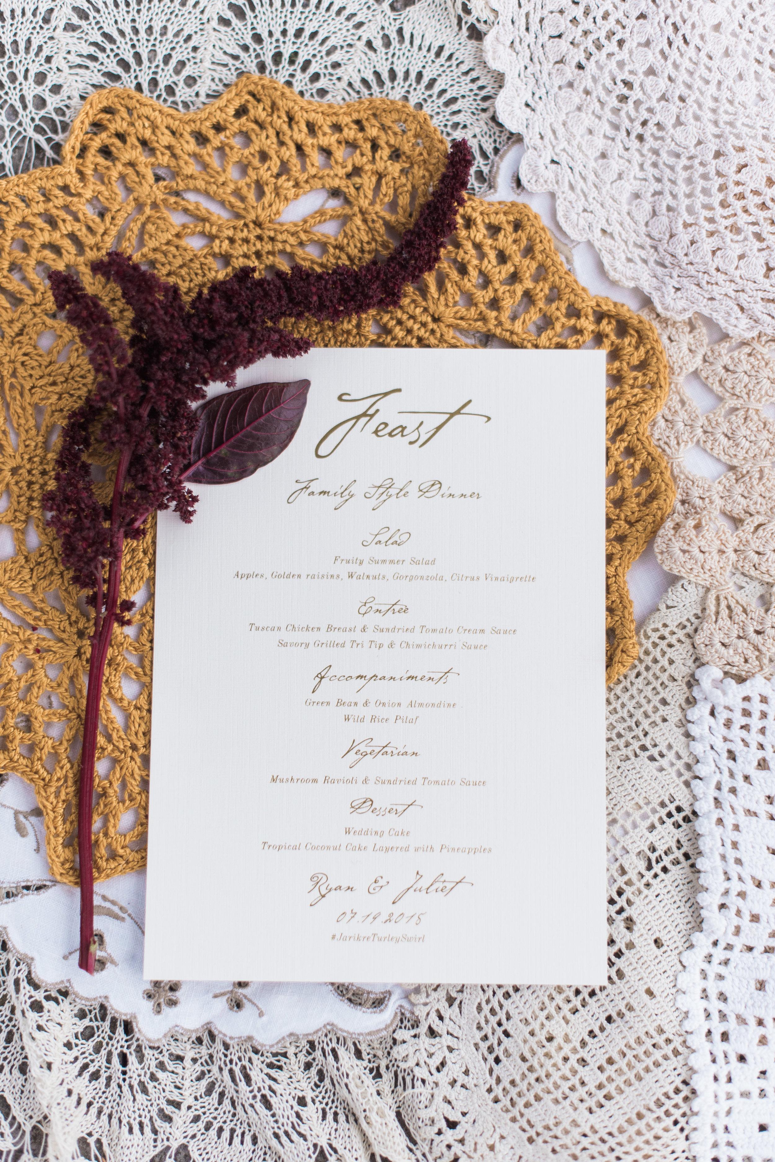 Champagne Press Foil Stamped Wedding Menu