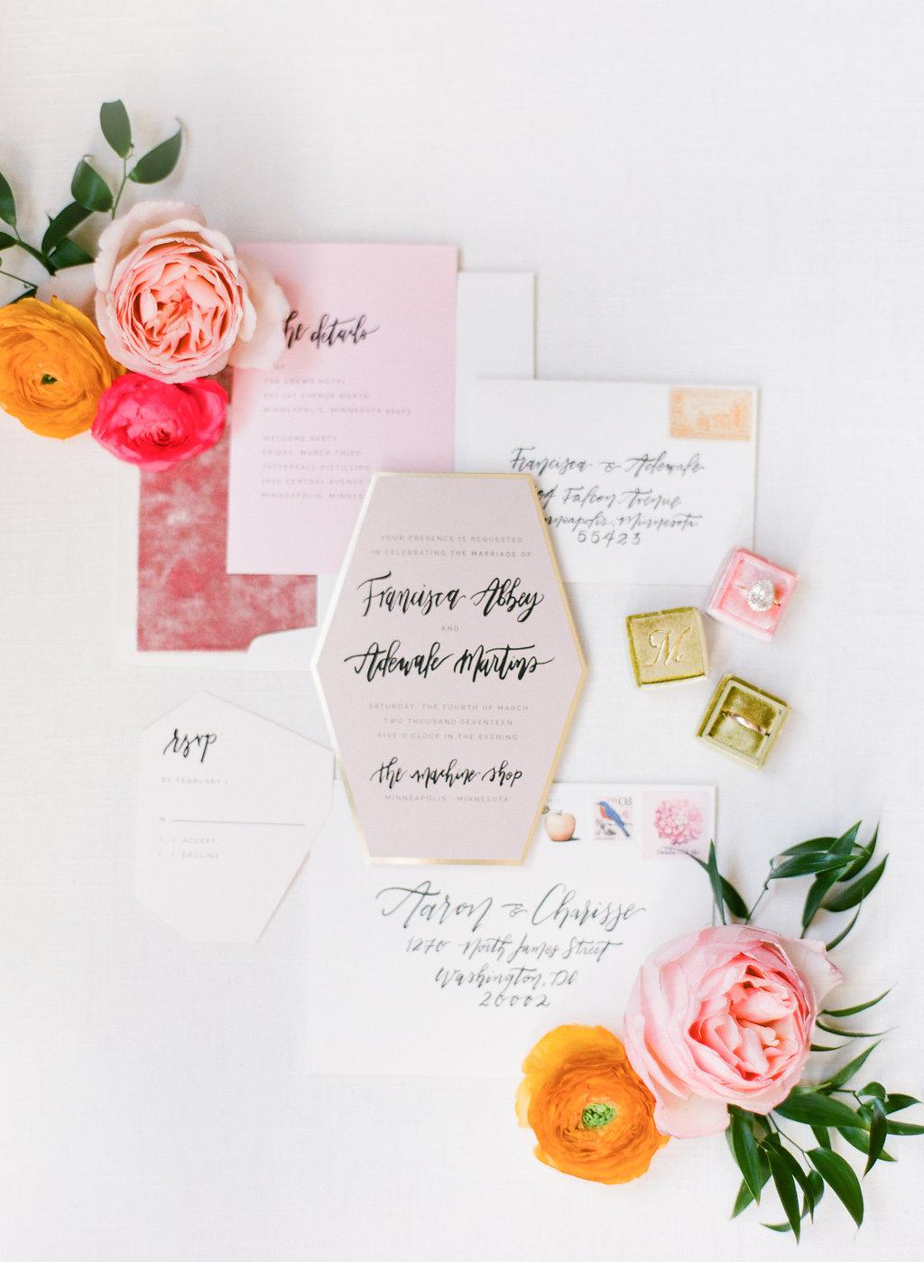 Champagne Press Wedding Invitation