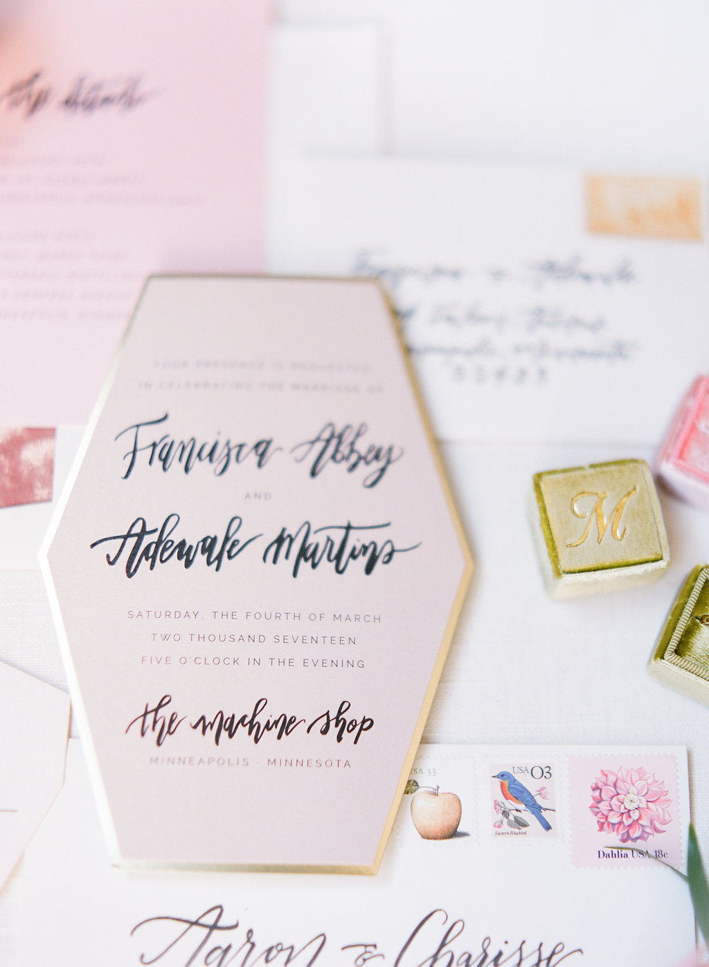 Champagne Press Die Cut Wedding Invitation