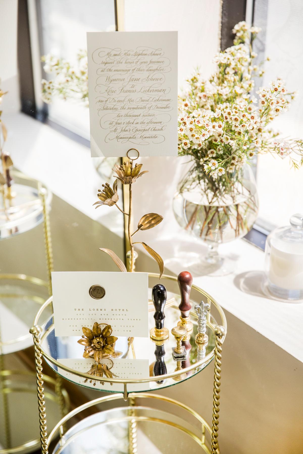 Champagne Press Letterpress Wedding Invitation