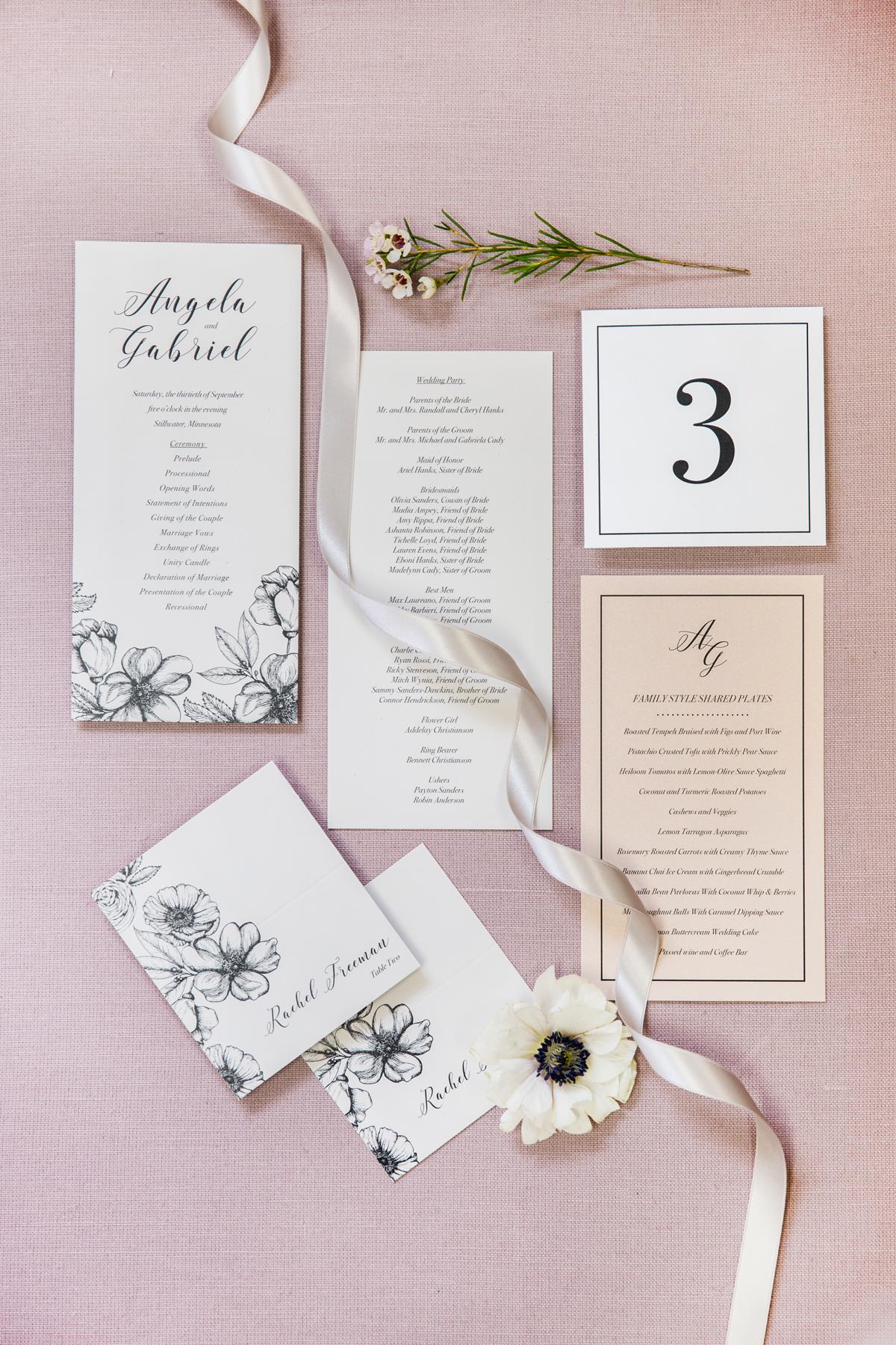 Wedding Day Paper Goods Programs Table Number Escort Cards Menu