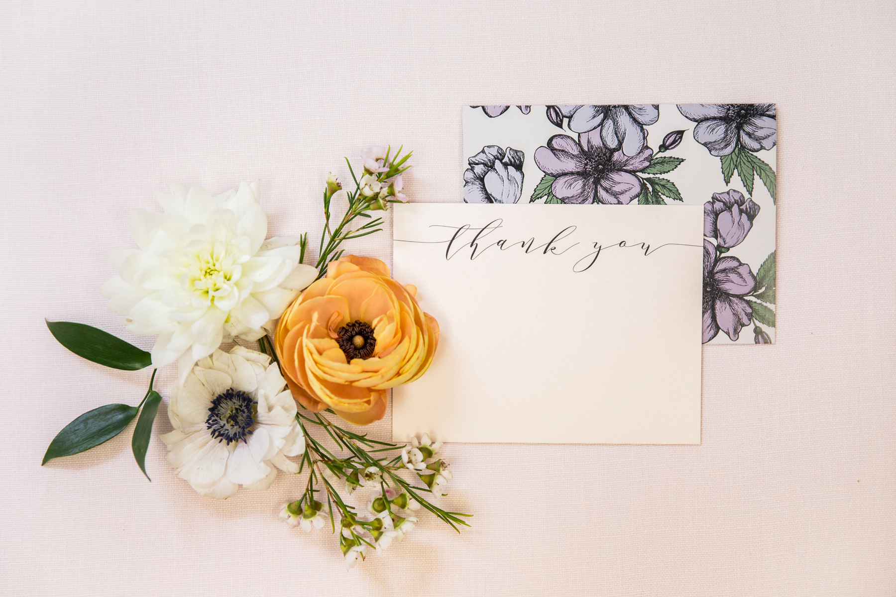 Champagne Press Thank You Stationery