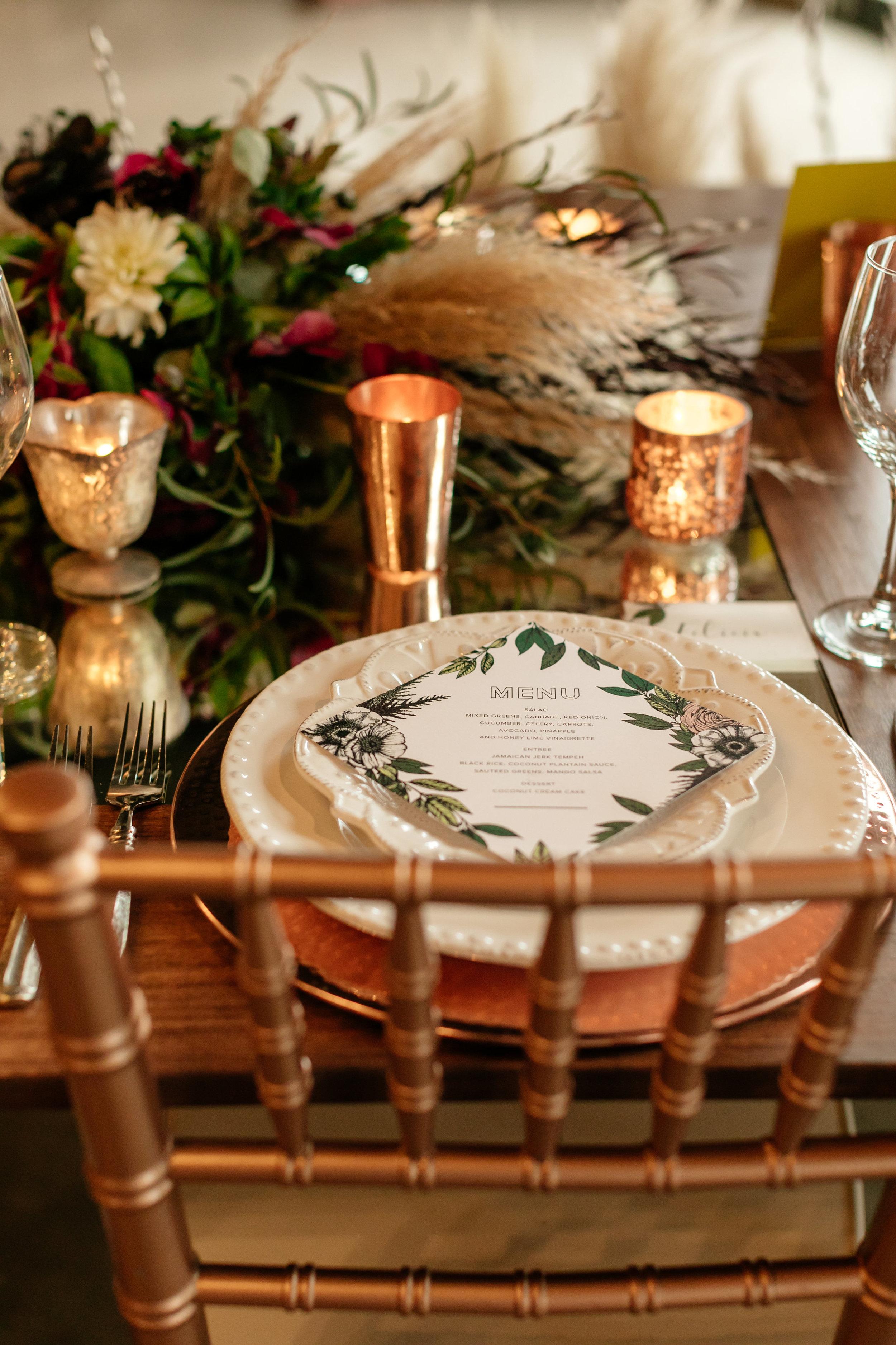 Champagne Press Wedding Menu