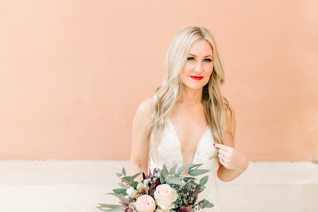 Bride Portrait Living Coral Pantone 2019 Vienna Glenn Wedding Photography