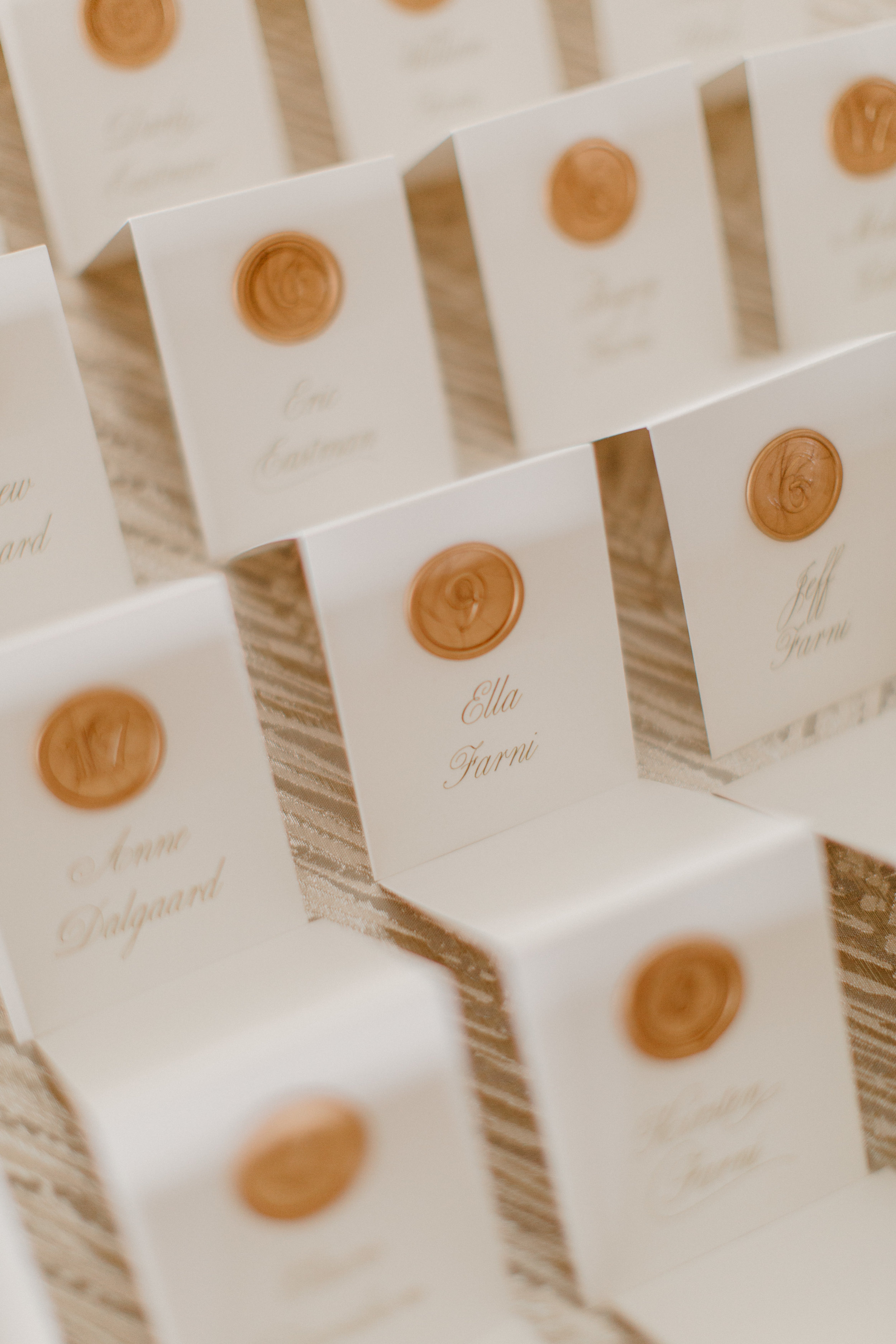Champagne Press Wax Seal Escort Cards Wedding Day Paper Goods
