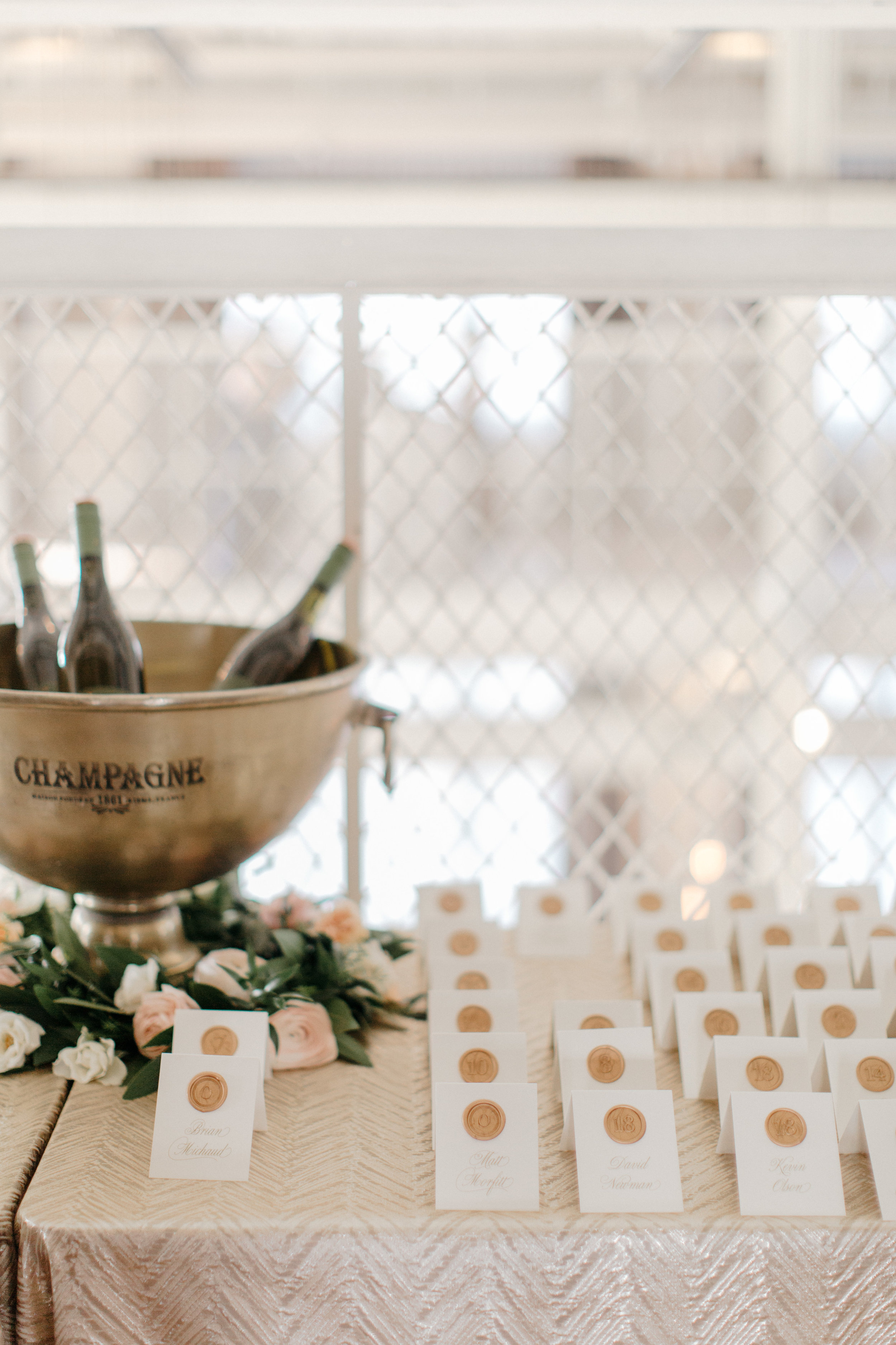 Champagne Press Wax Seal Escort Cards Rudys Event Rentals Champagne Bucket