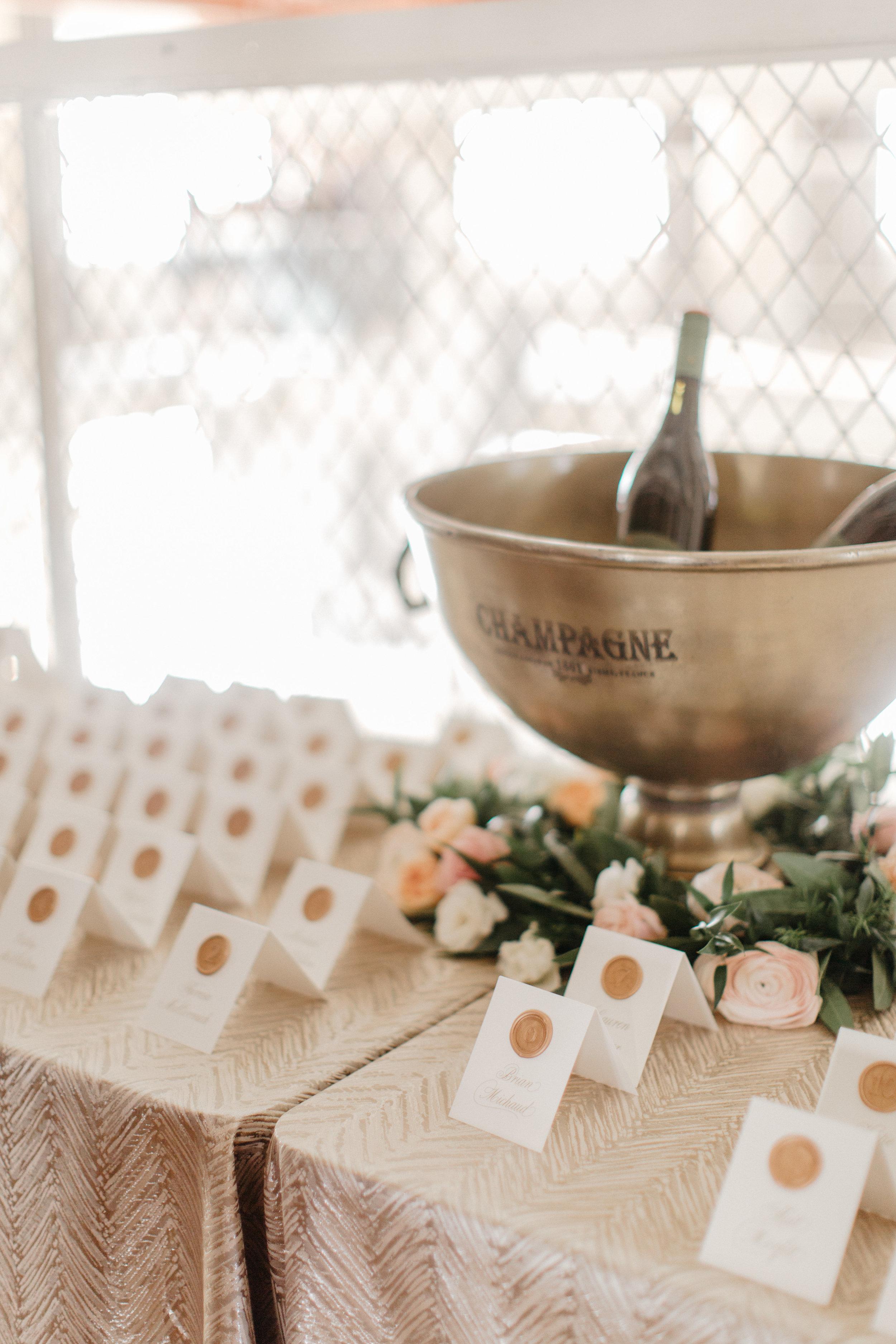Champagne Press Wax Seal Escort Cards