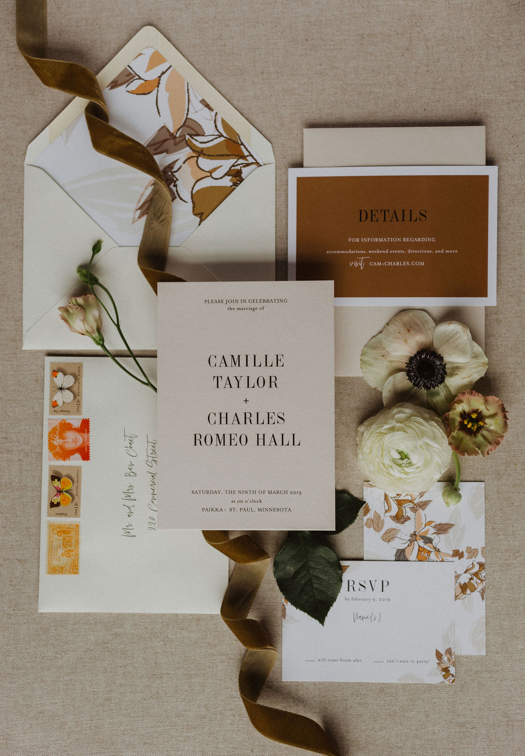 Earth Tones Custom Wedding Invitation Suite by Champagne Press.jpg