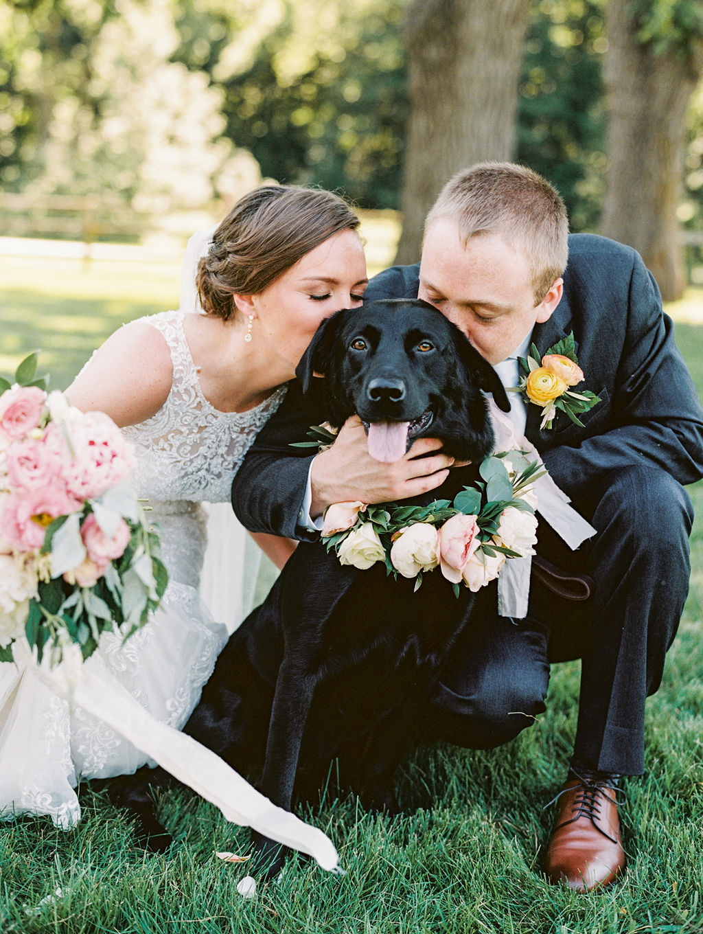 Ann + Casey Floral Dog Collar Style Me Pretty Wedding Feature