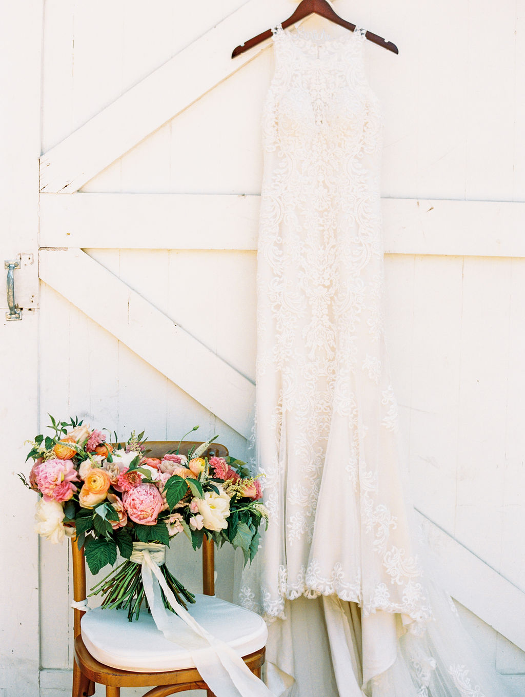 Lace Wedding Dress and Colorful Bouquet Sally Pinera Photography