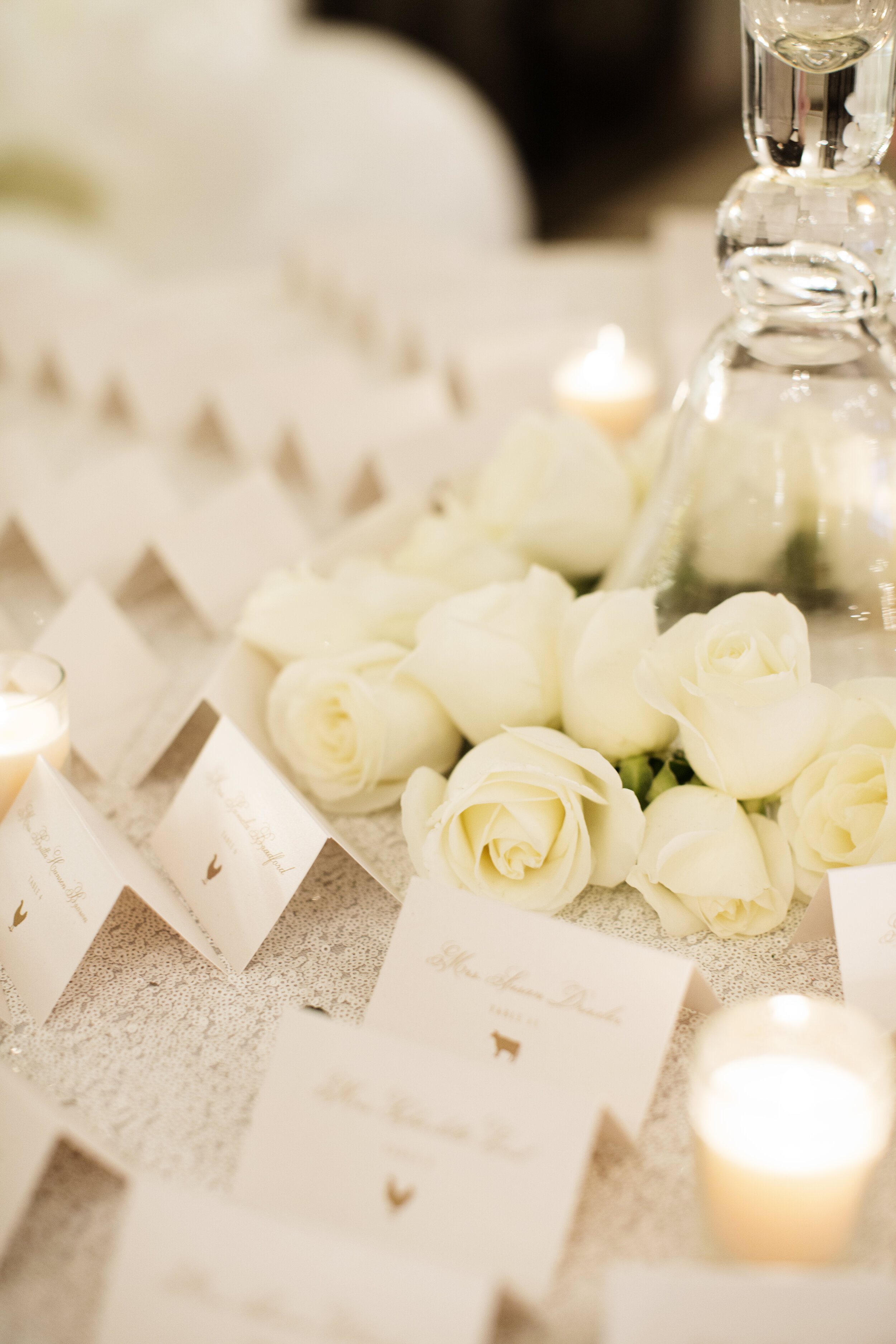 White and Gold Folded Escort Cards with Meal Choice Icon