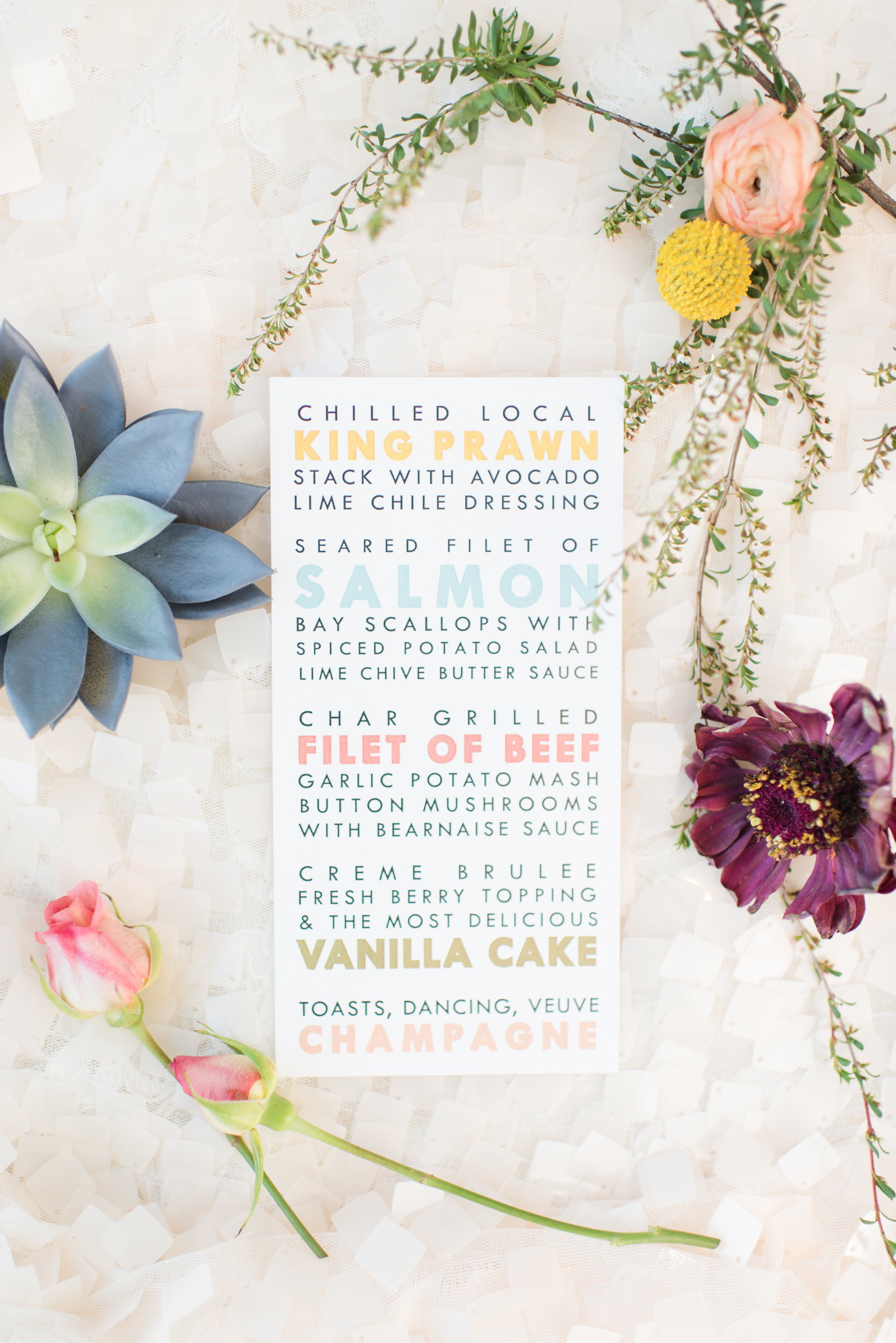 Typography Colorful Unique Wedding Menu