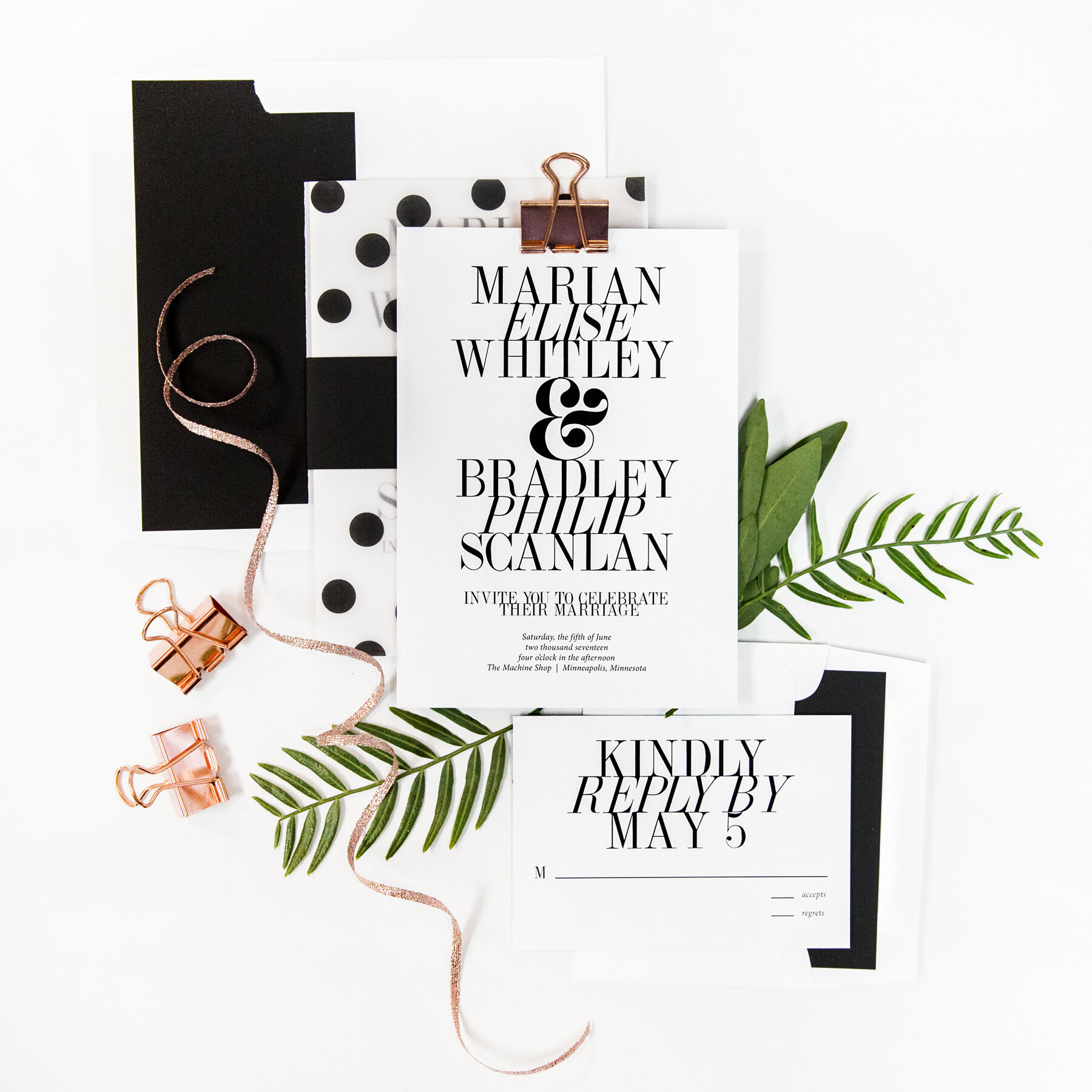 Modern Wedding Invitation by Champagne Press Photography by Krista Esterling