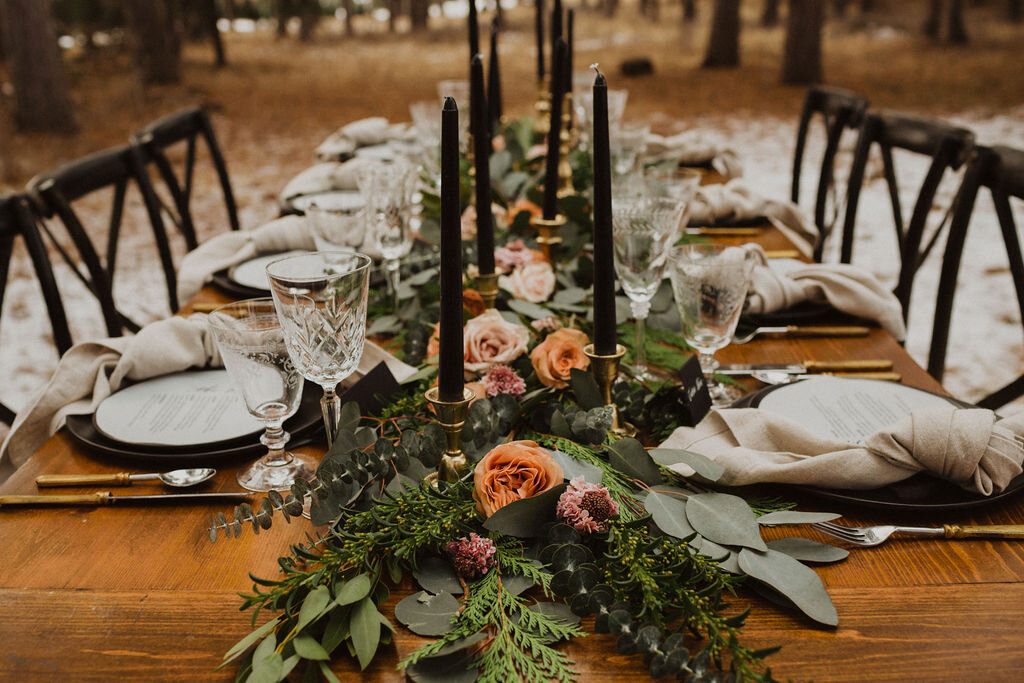 Winter Wedding Black and Greenery Tablescape
