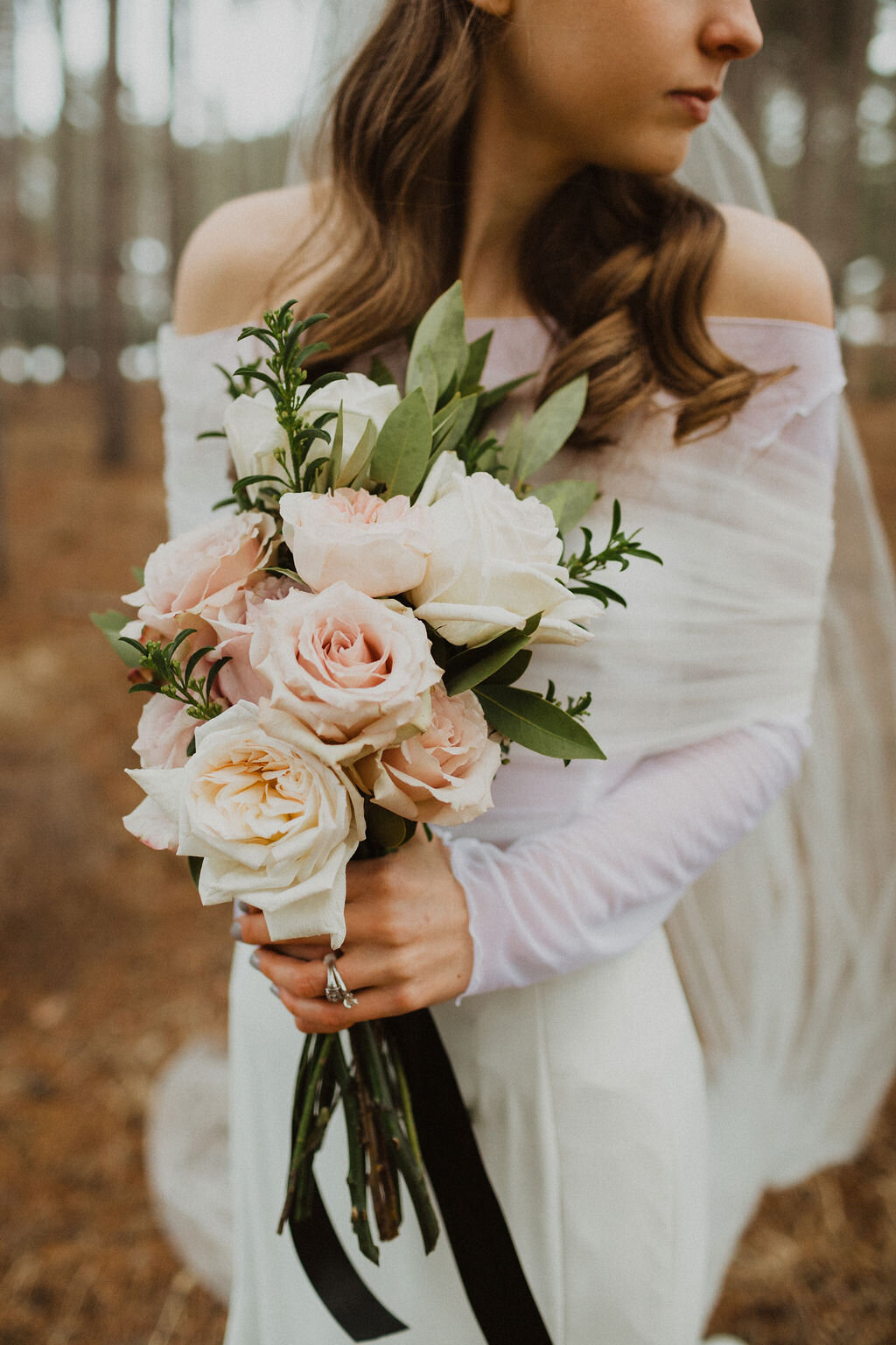 Wedding Bouquet Blush and White Roses and Lillies