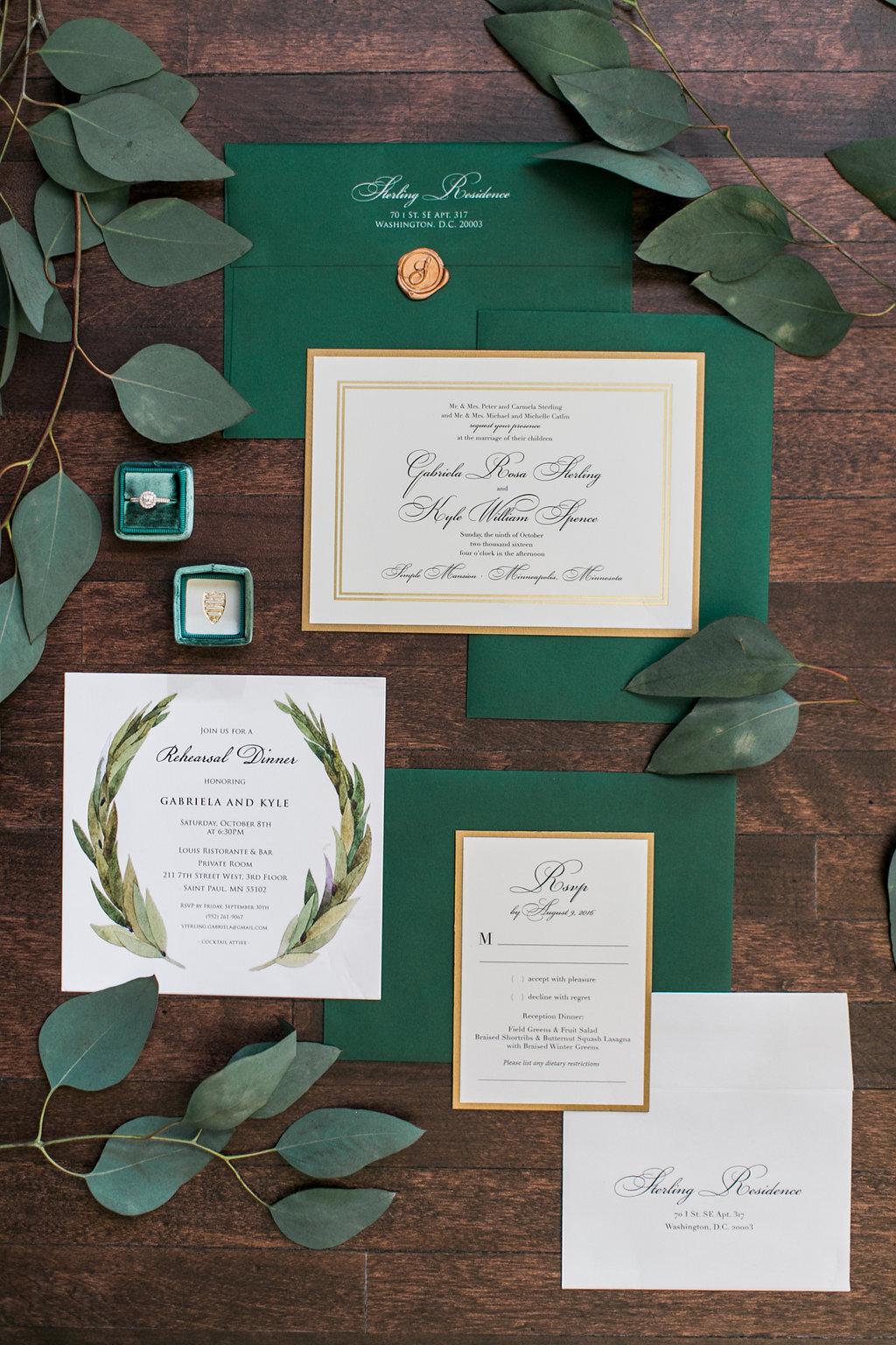 Emerald Green and Gold Custom Wedding Invitation Suite Champagne Press Invitation Suite