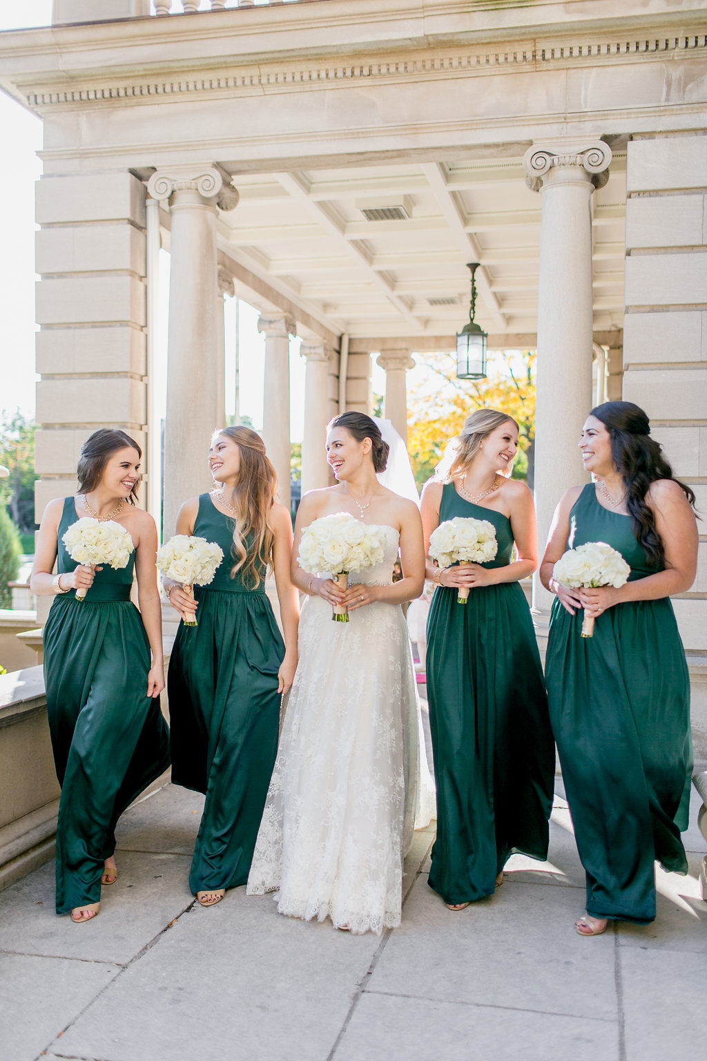 Emerald Green and Gold Semple Mansion Wedding Bridesmaid Dresses