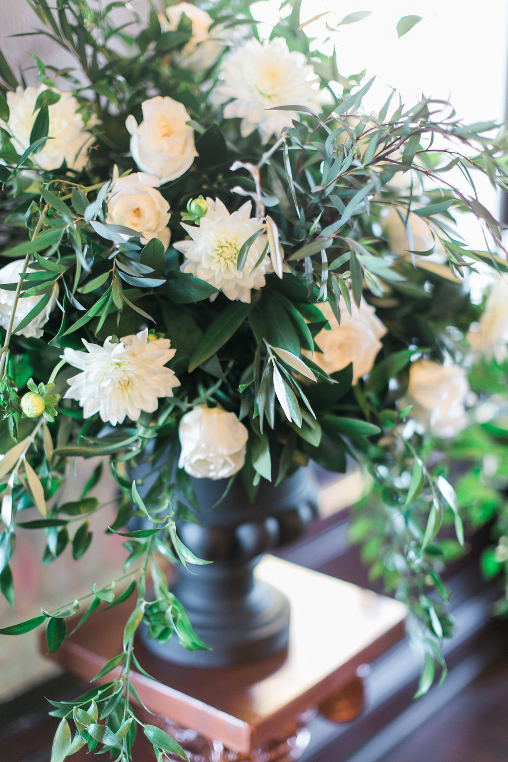 Greenery and White Floral Ceremony Decor Sadies Floral Luxury Mansion Wedding