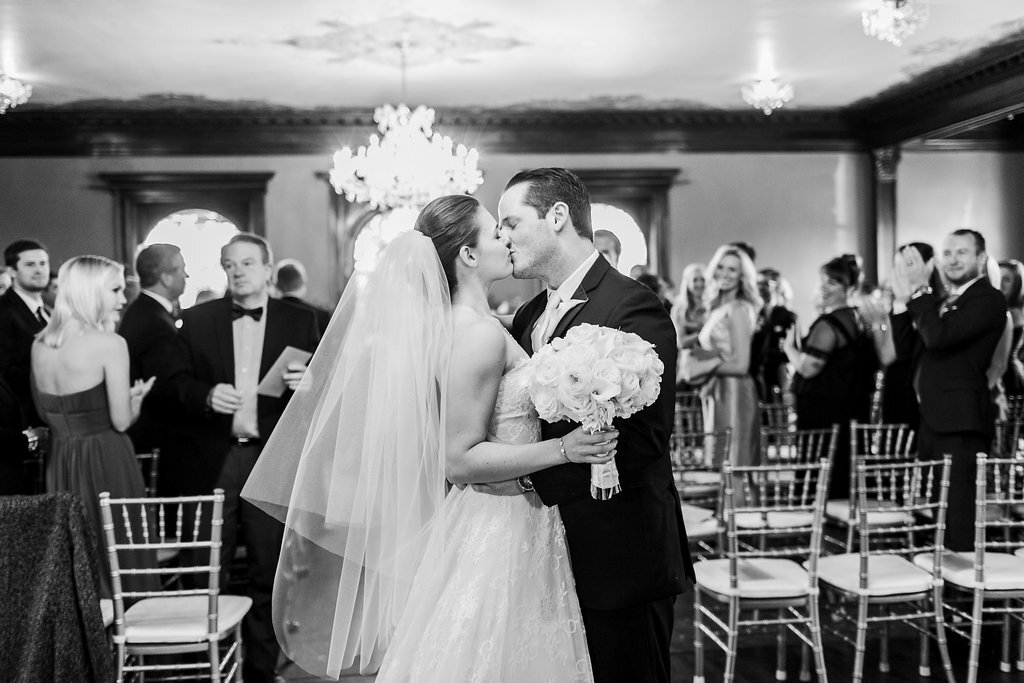 Black and White Just Married Photo Classic Veil Semple Mansion Wedding Minnesota Bride