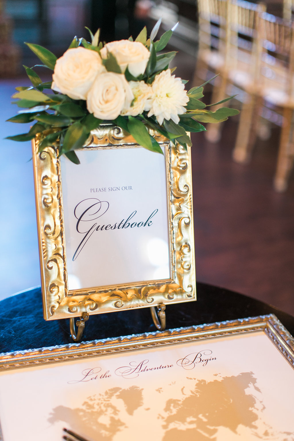 Guestbook Sign Gold Frame Floral Decor Champagne Press Wedding Day Paper Goods