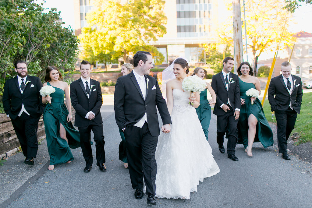 Emerald Green Bridesmaids Just Married Semple Mansion Wedding
