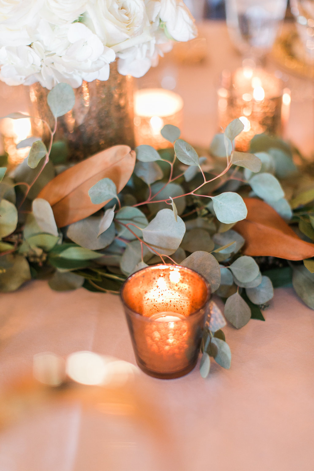 Eucalyptus and Magnolia Floral Table Runner Luxury Rustic Wedding