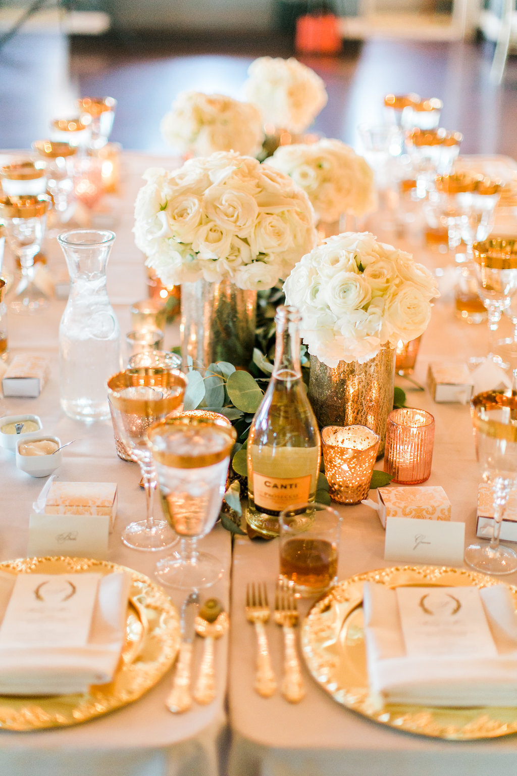 White and Gold Head Table White Floral Gold Charger Wedding Decor