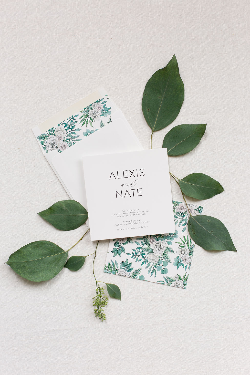 Modern Floral Square Save the Dates by Champagne Press