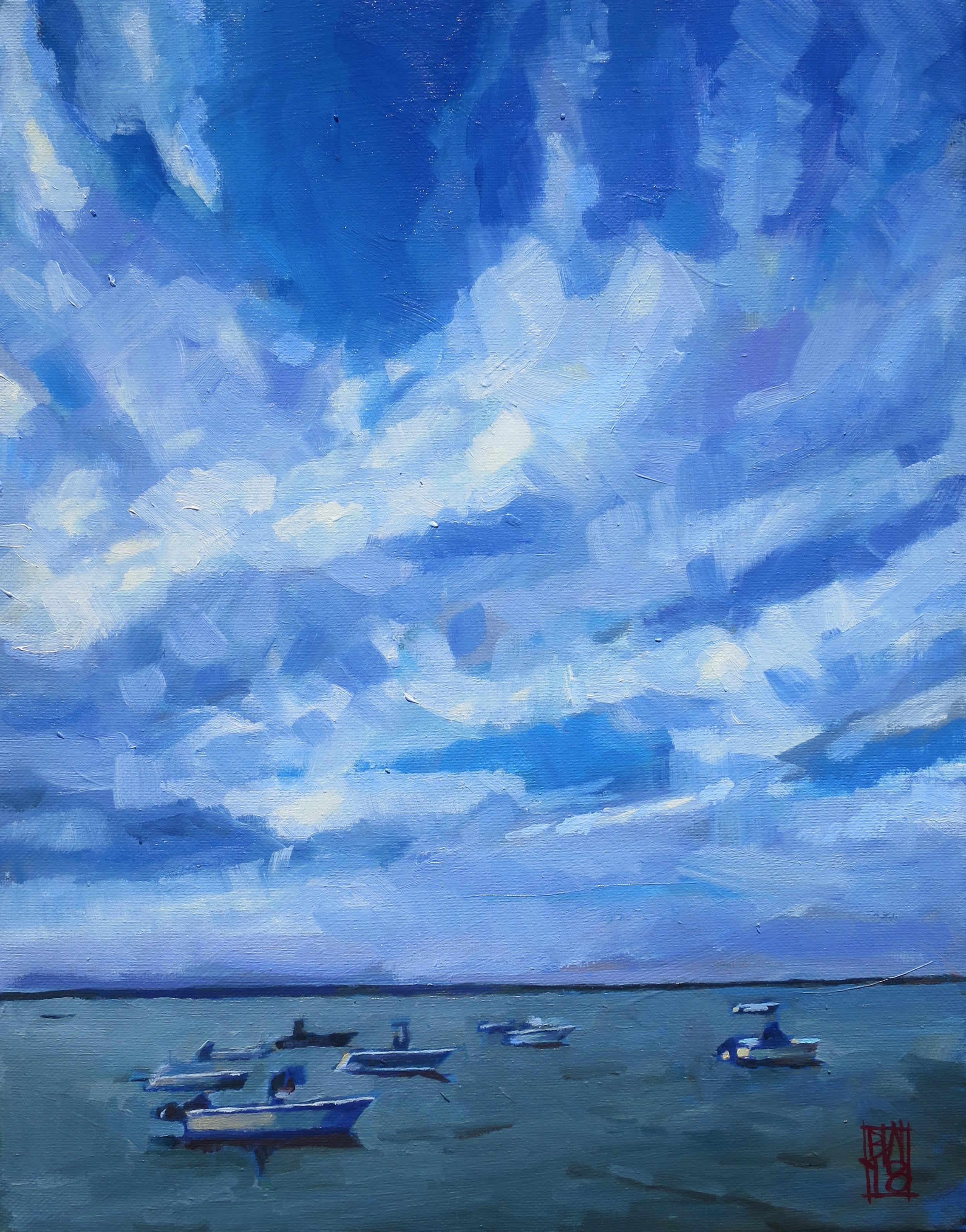 """Boats Beneath a Cloudy Sky, 11"""" x 14"""", oil on canvas"""