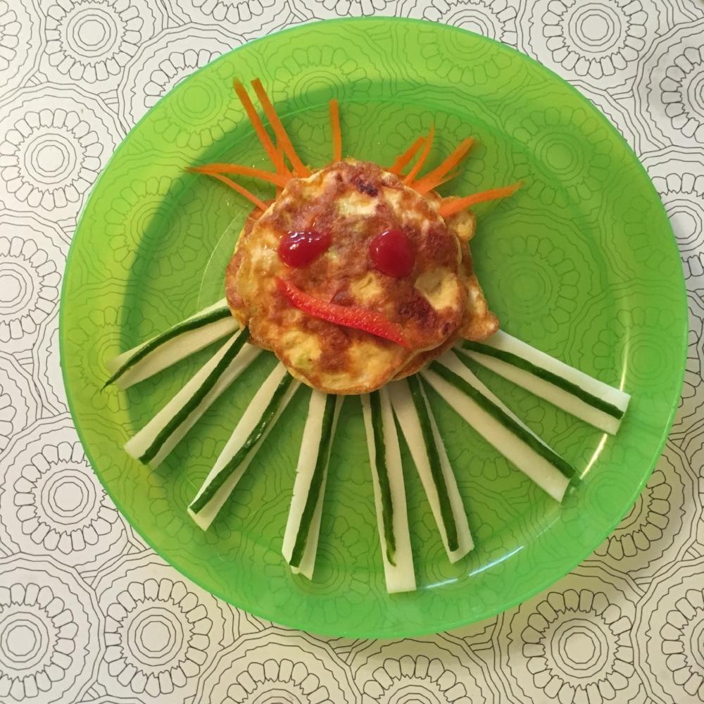 Vaječná chobotnice se sýrem a zeleninou