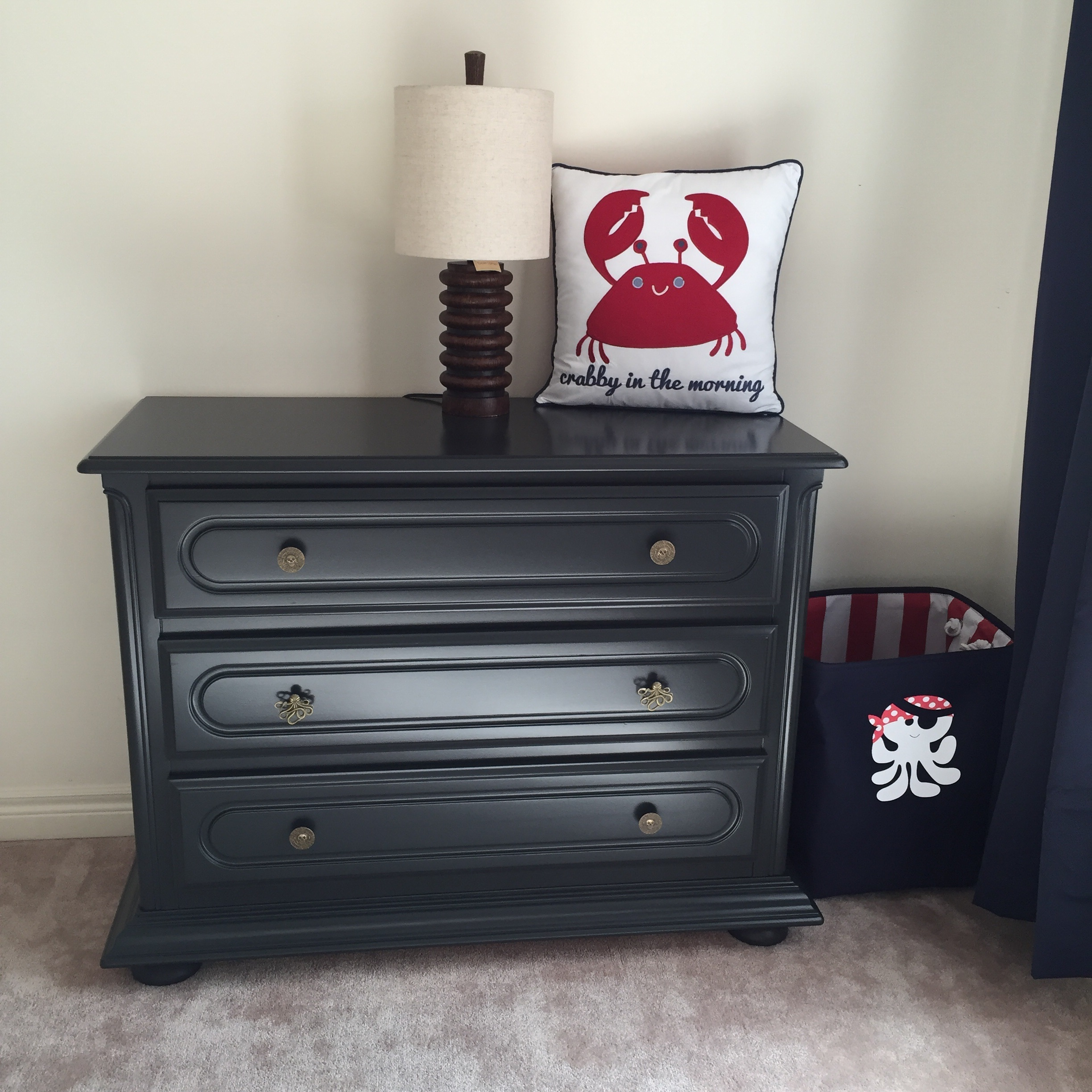 This dresser was a garbage find ! New tracks, some paint, and adorable hardware . The total makeover on this was $60.00