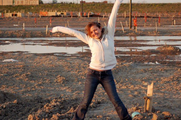 Here I am in 2007 when they broke ground on our first house.