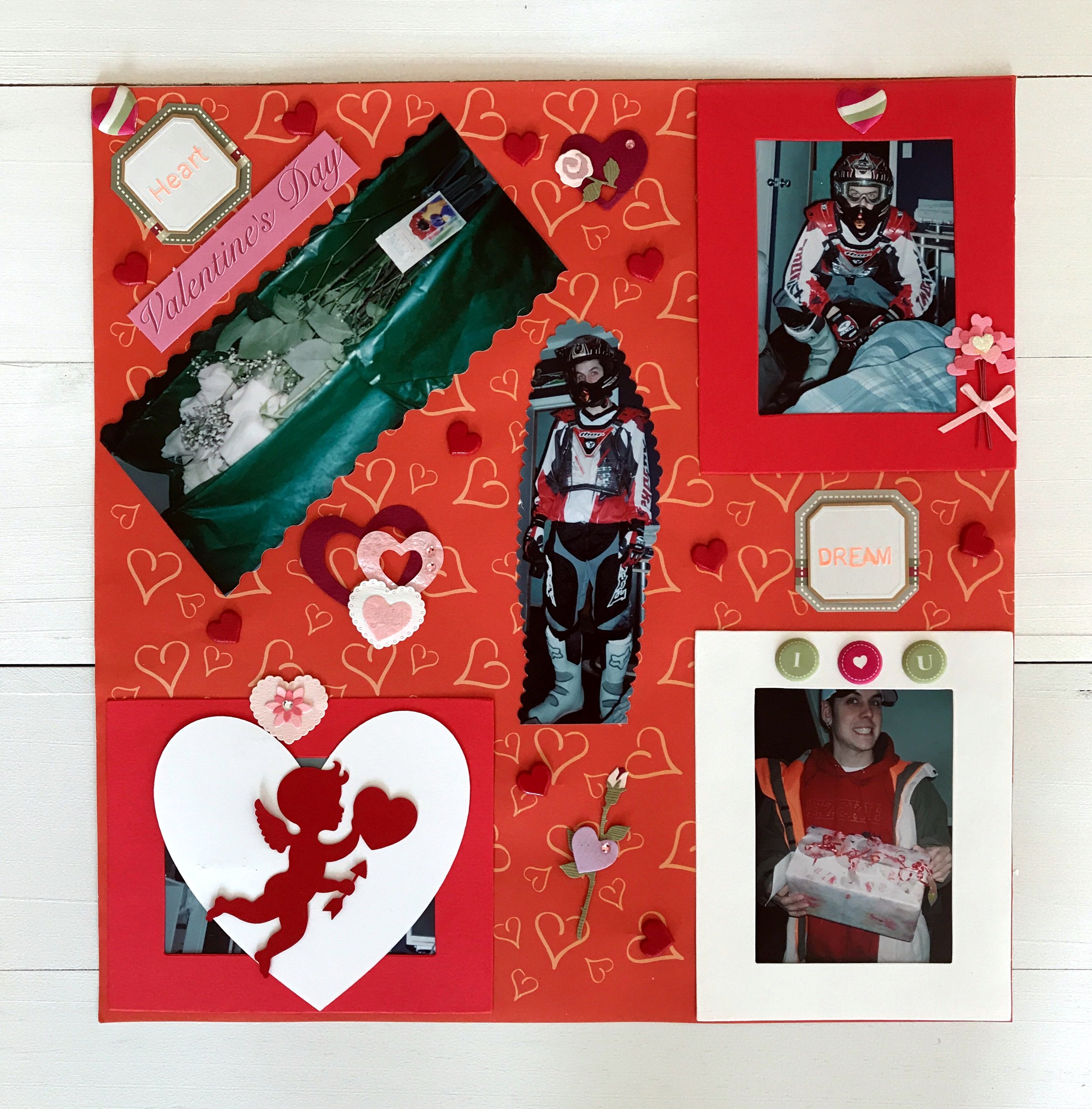 (From my scrapbook) Valentines Day 2003; I bought Anthony new dirt bike gear because I wanted him to be well protected. Thank goodness he doesn't ride anymore. My nerves couldn't handle it.