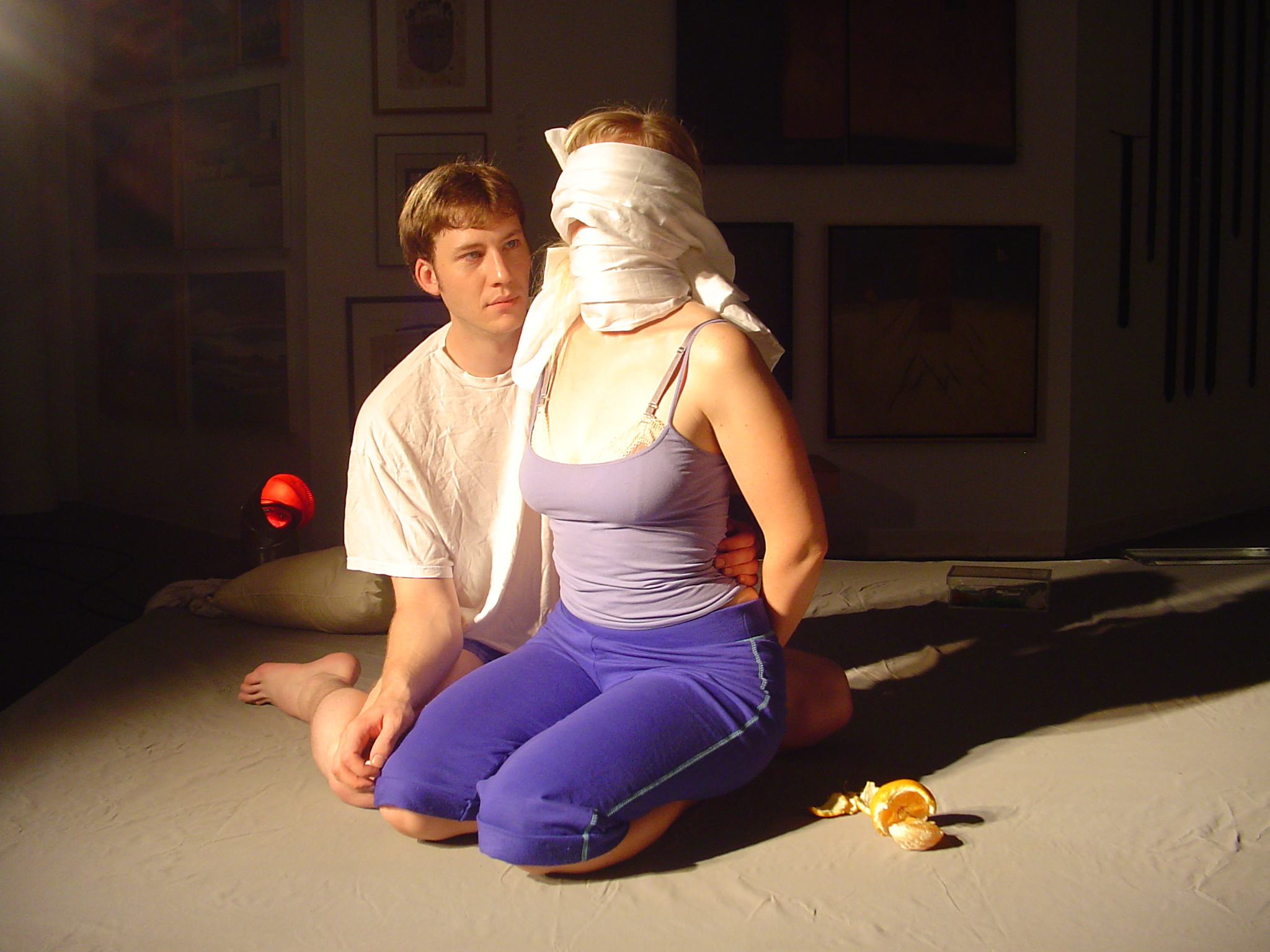 Dustin Loomis as Sam and Stephanie Burden as Louisa in DC Dollies and the Rocket Bitch Revue's production of MAY 39th at the Capital Fringe Festival, Washington DC, July 2006.