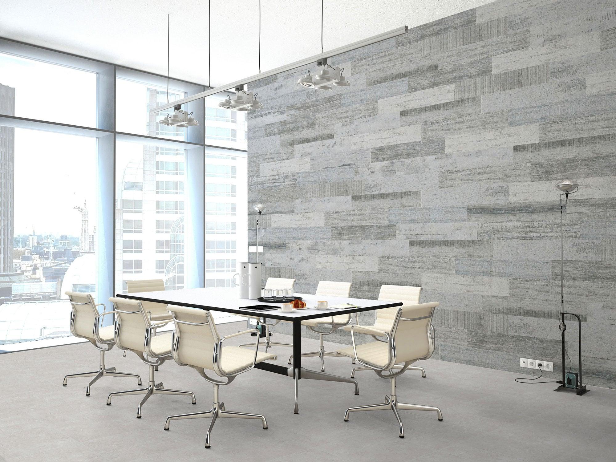 Old Wood Gris · 20 x 114 + Project Perla · 60 x 60