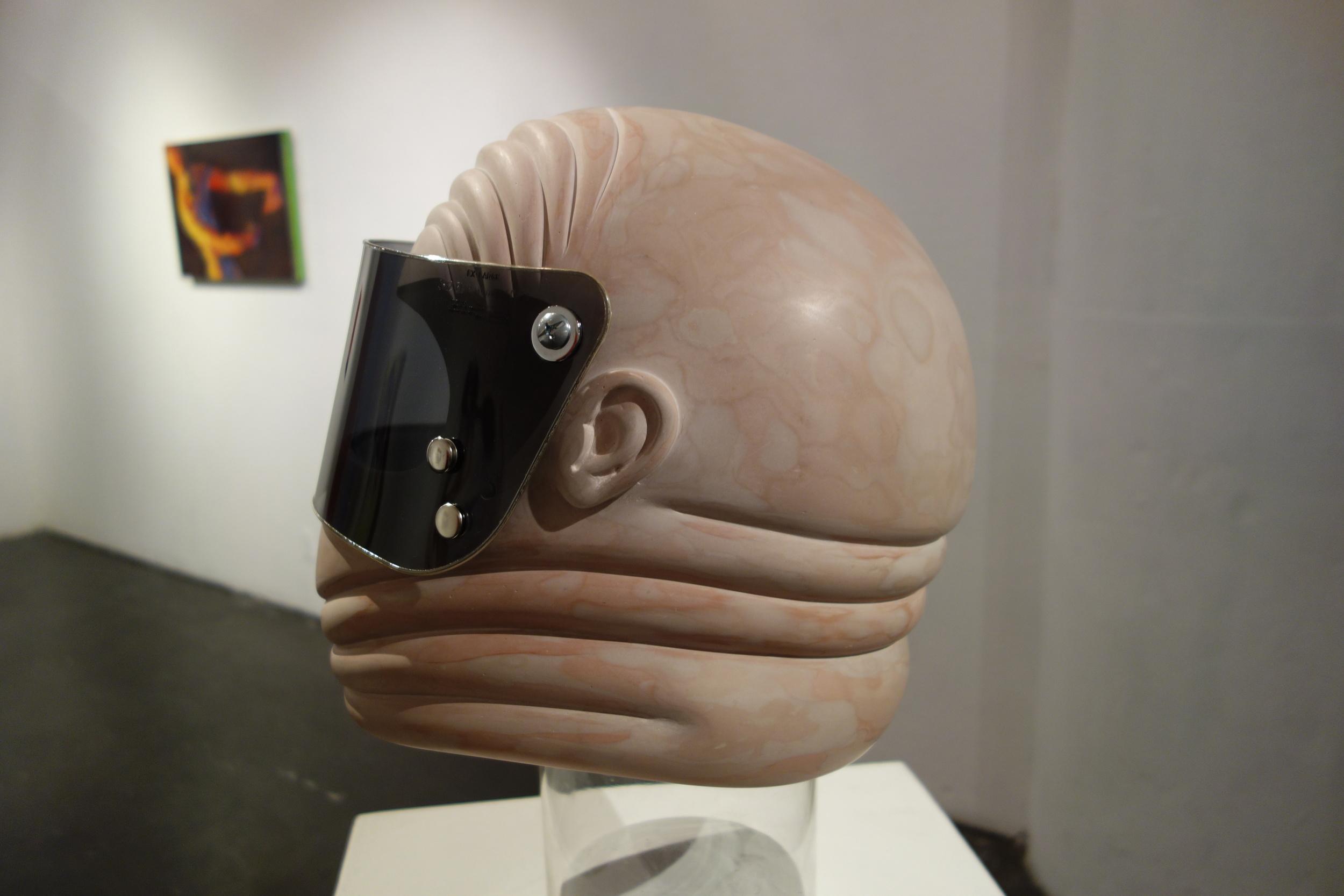 "fat dickhead , 2014.    Bondo  ®  body filler putty, fiberglass, plexiglass, brass snaps, styrofoam.    11"" x 13"" x 13""."
