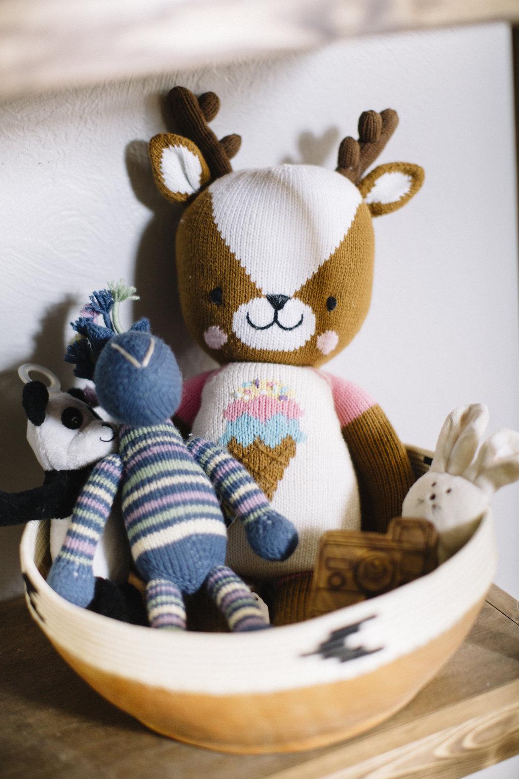 Deer  c/o Cuddle + Kind Wooden Camera  Rattle  c/o Finn + Emma Blue  Zebra  c/o Zeal Living