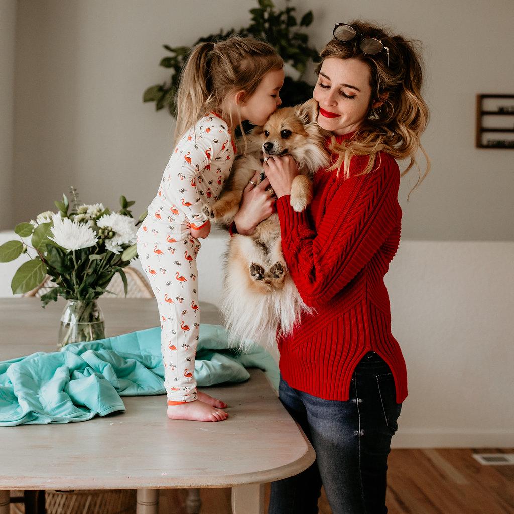 Winter's pajamas and toddler blanket c/o  Kyte Baby