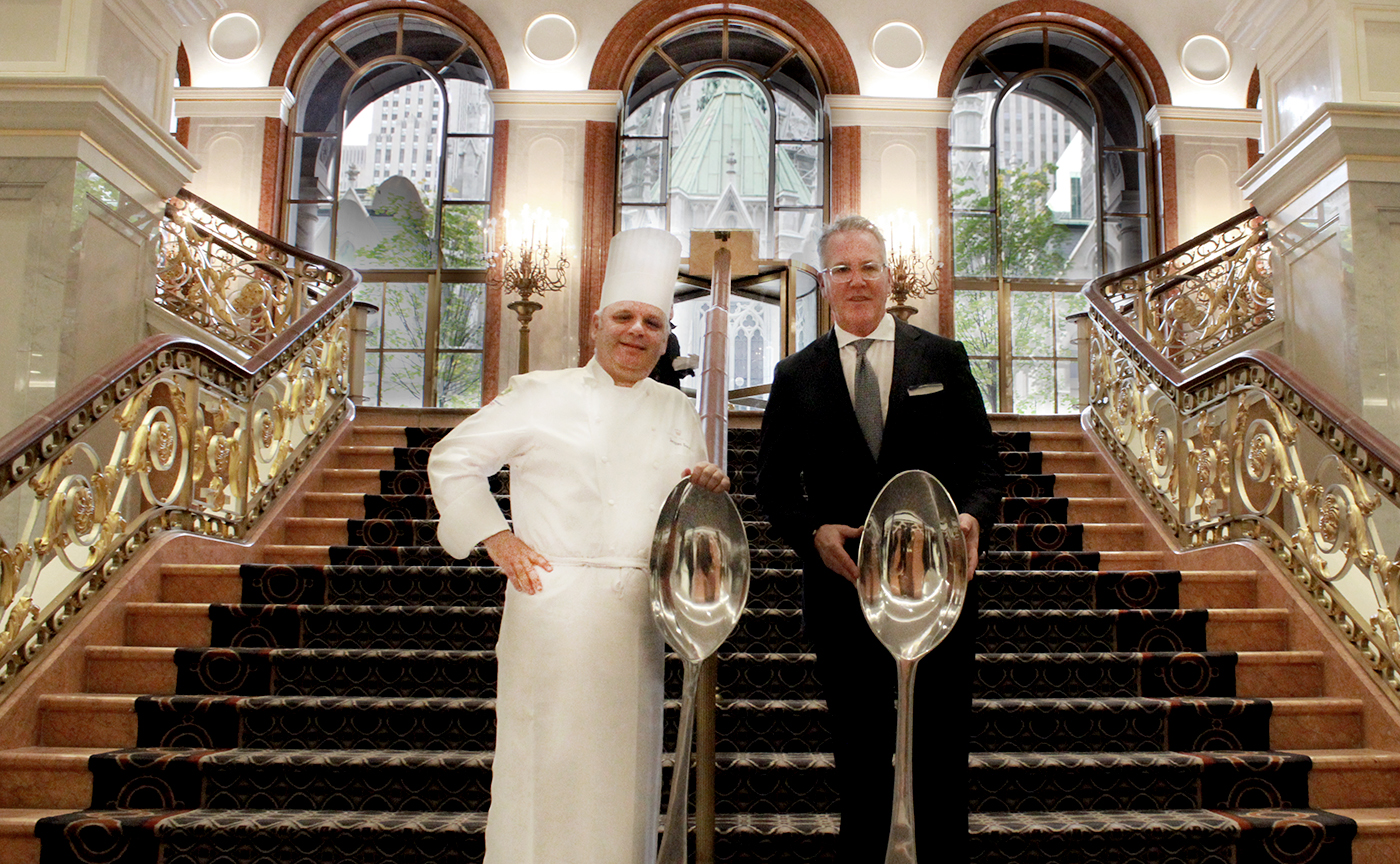 Executive Chef Jaques Sorci standing beside Managing Director John C. Tolbert of the Lotte New York Palace Hotel.