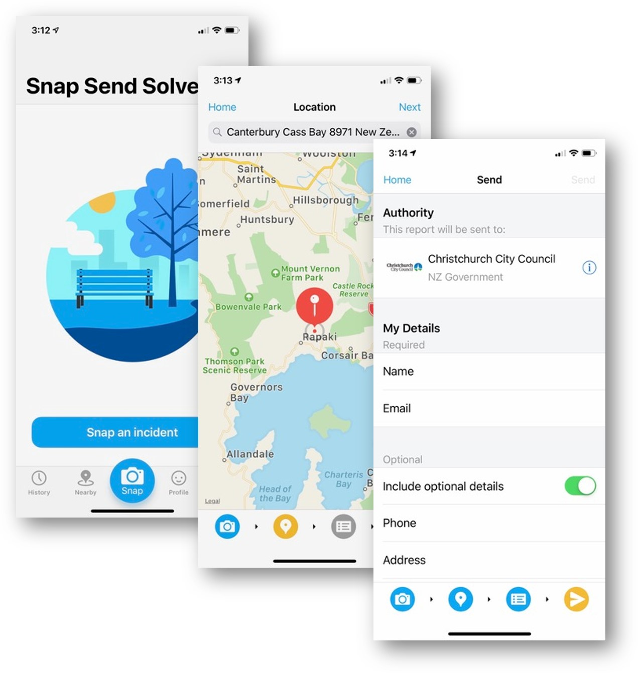 Screenshots of the Snap Send Solve app