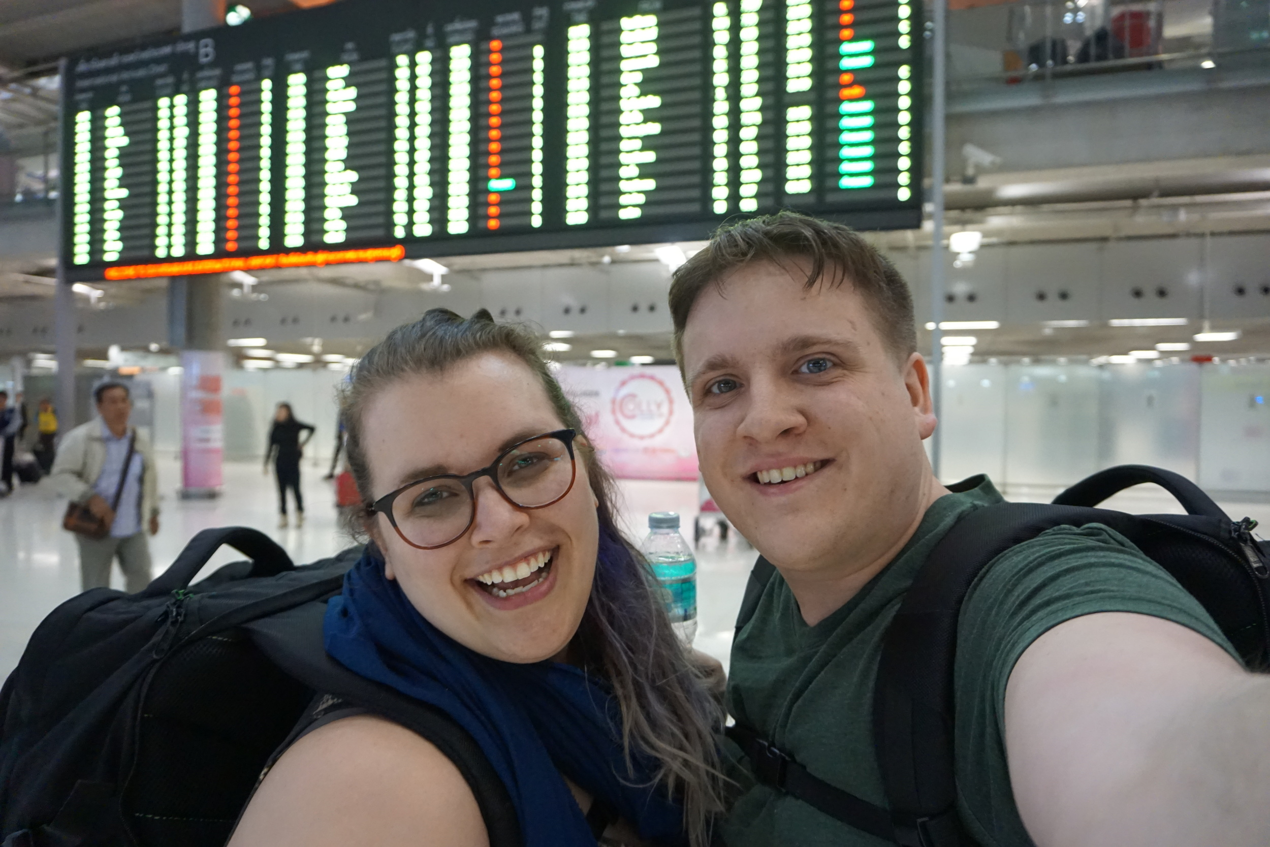 Us and our backpacks after 30 hours of traveling!